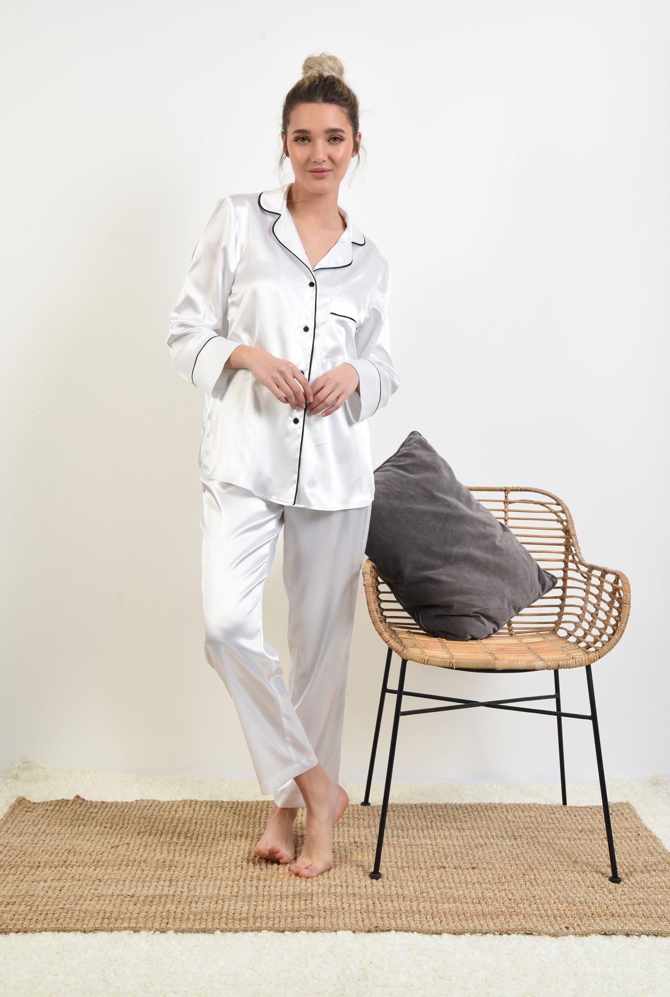 3 - camasa din satin, alb, cu nasturi, cu buzunar, cu borduri contrastante
