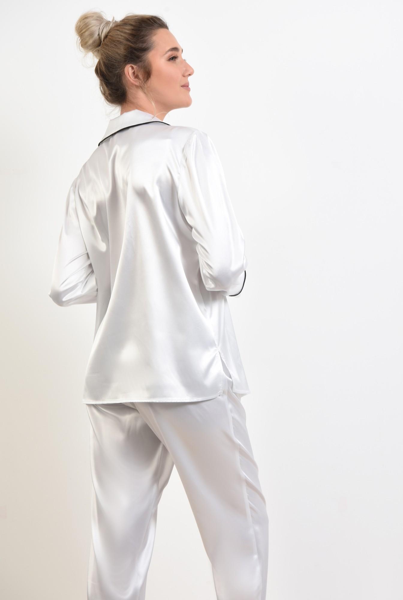 1 - camasa din satin, alb, cu nasturi, cu buzunar, cu borduri contrastante