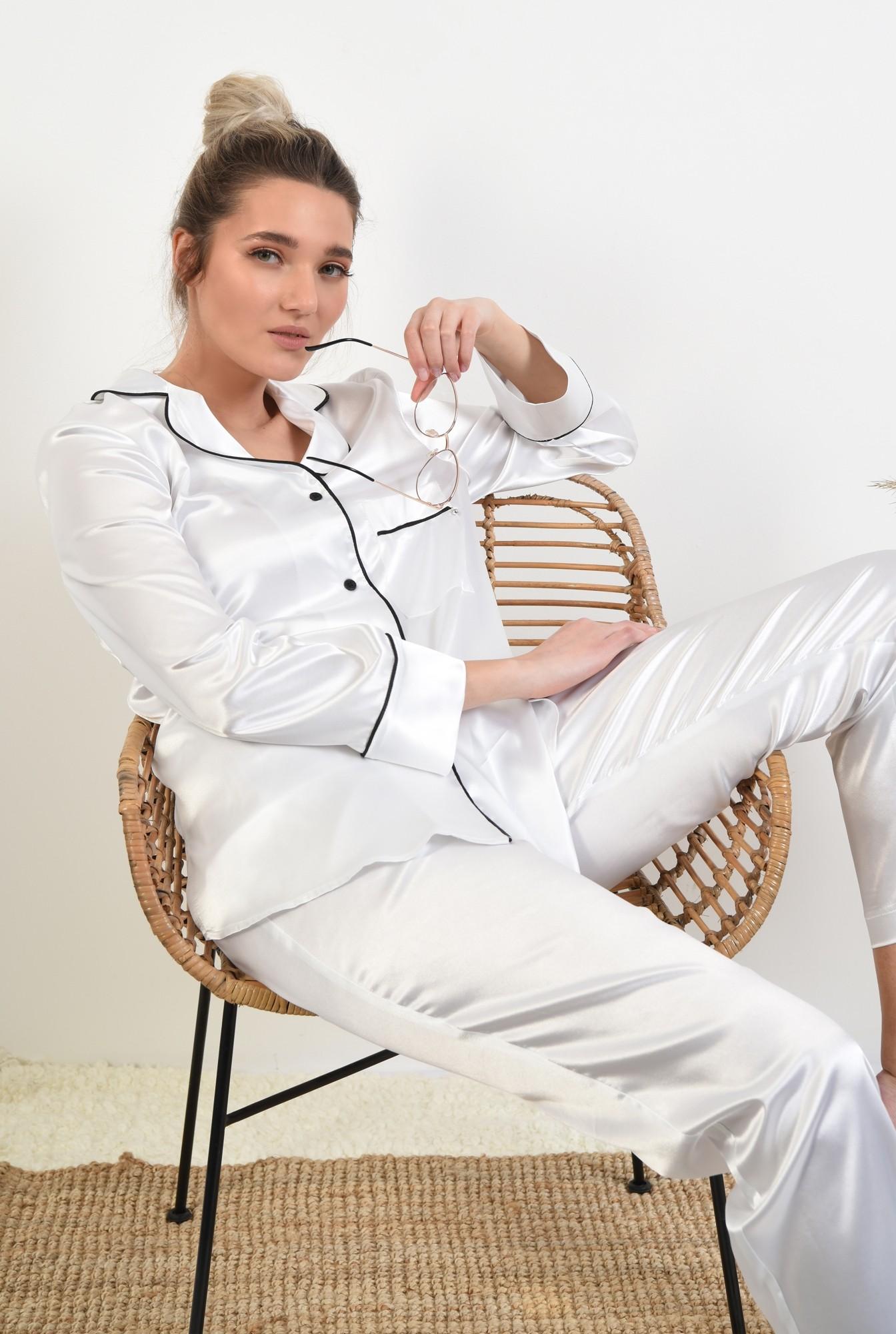 0 - camasa din satin, alb, cu nasturi, cu buzunar, cu borduri contrastante