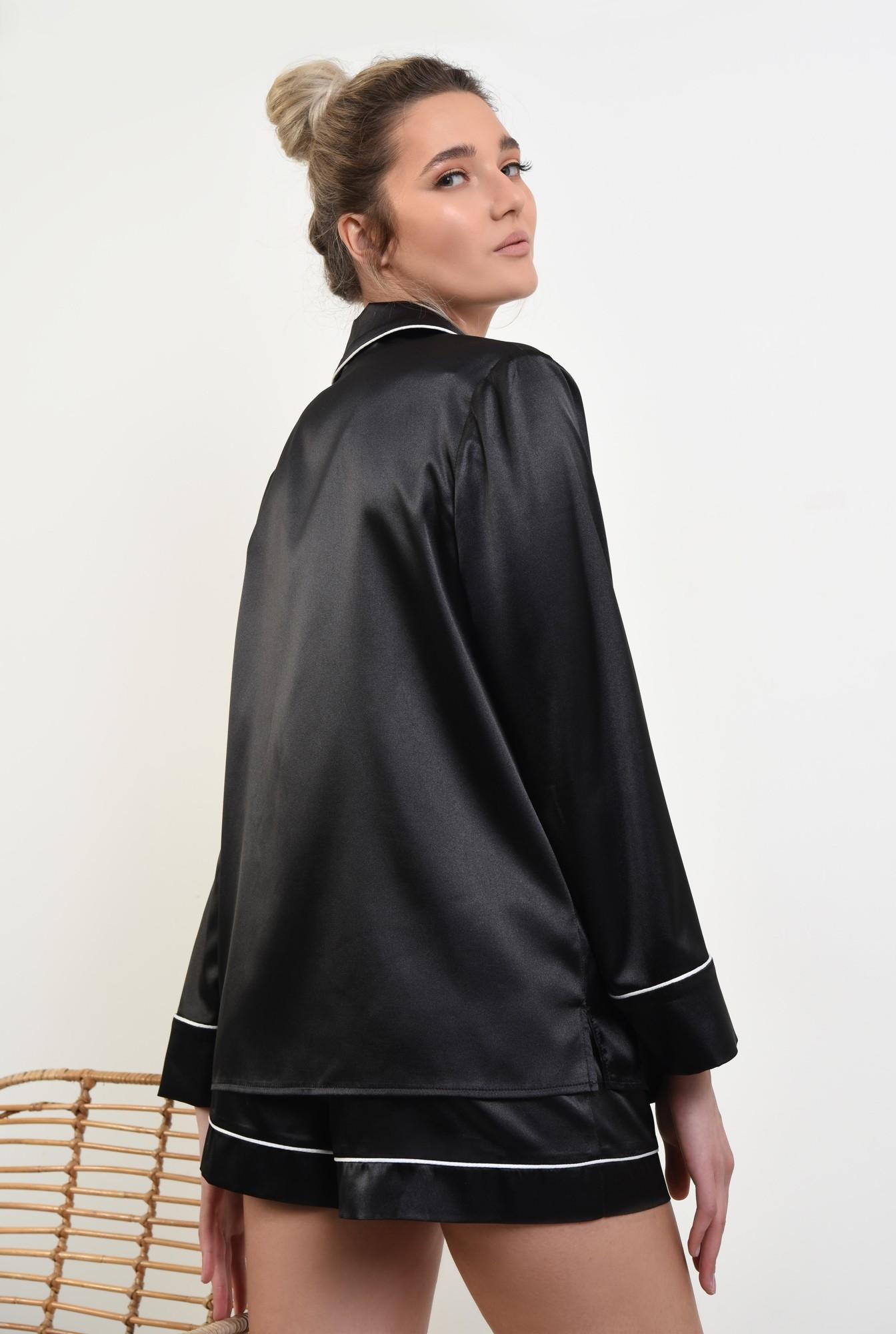 1 - camasa din satin, negru, cu nasturi, cu buzunar, cu borduri contrastante