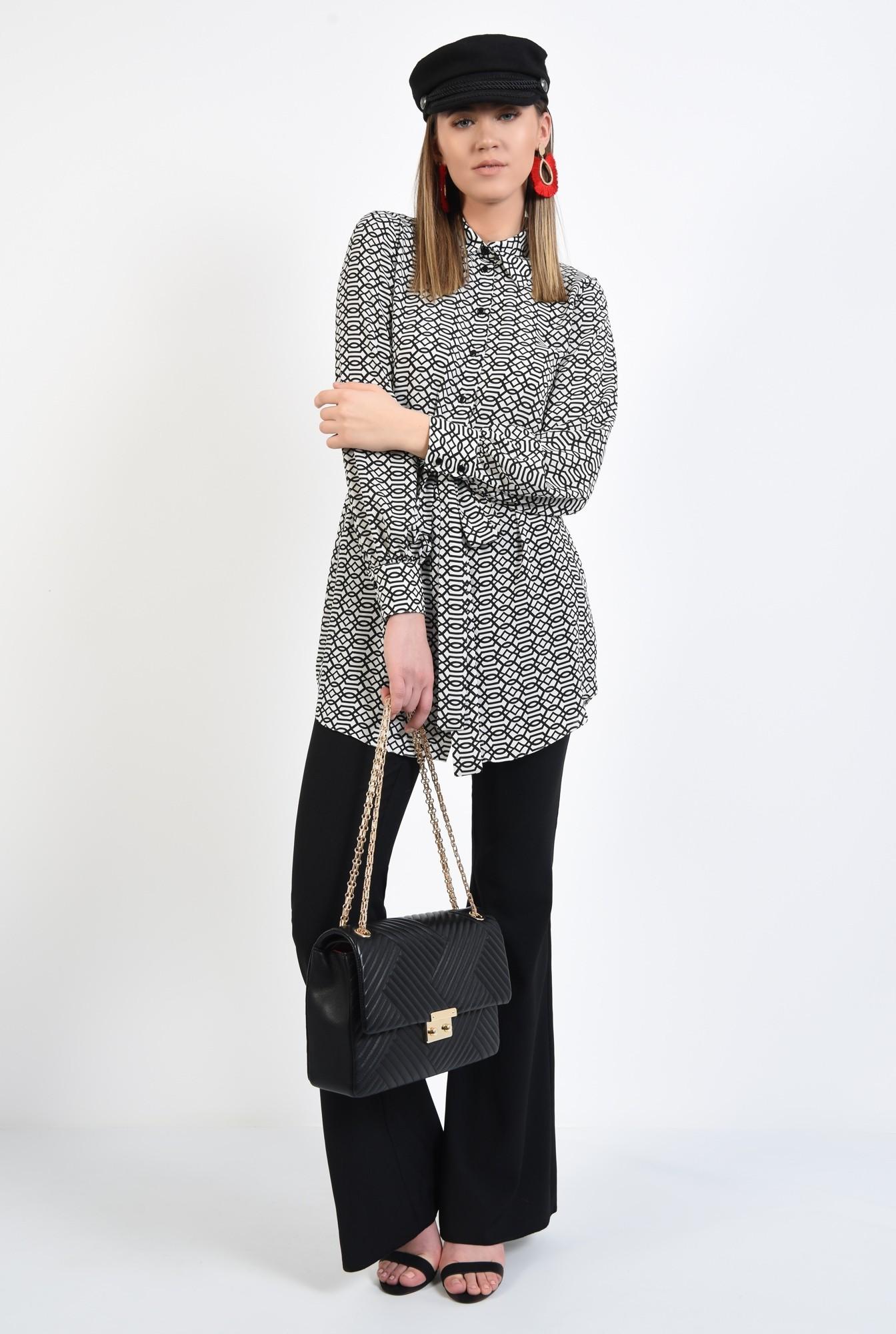 3 - camasa casual, stil tunica, lunga, alb-negru, cu cordon