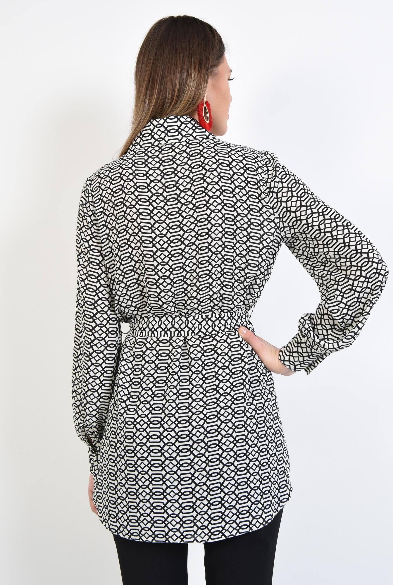 1 - camasa casual, stil tunica, lunga, alb-negru, cu cordon