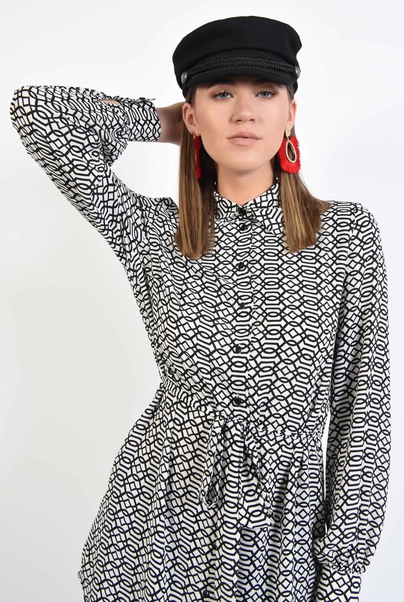 2 - camasa casual, stil tunica, lunga, alb-negru, cu cordon