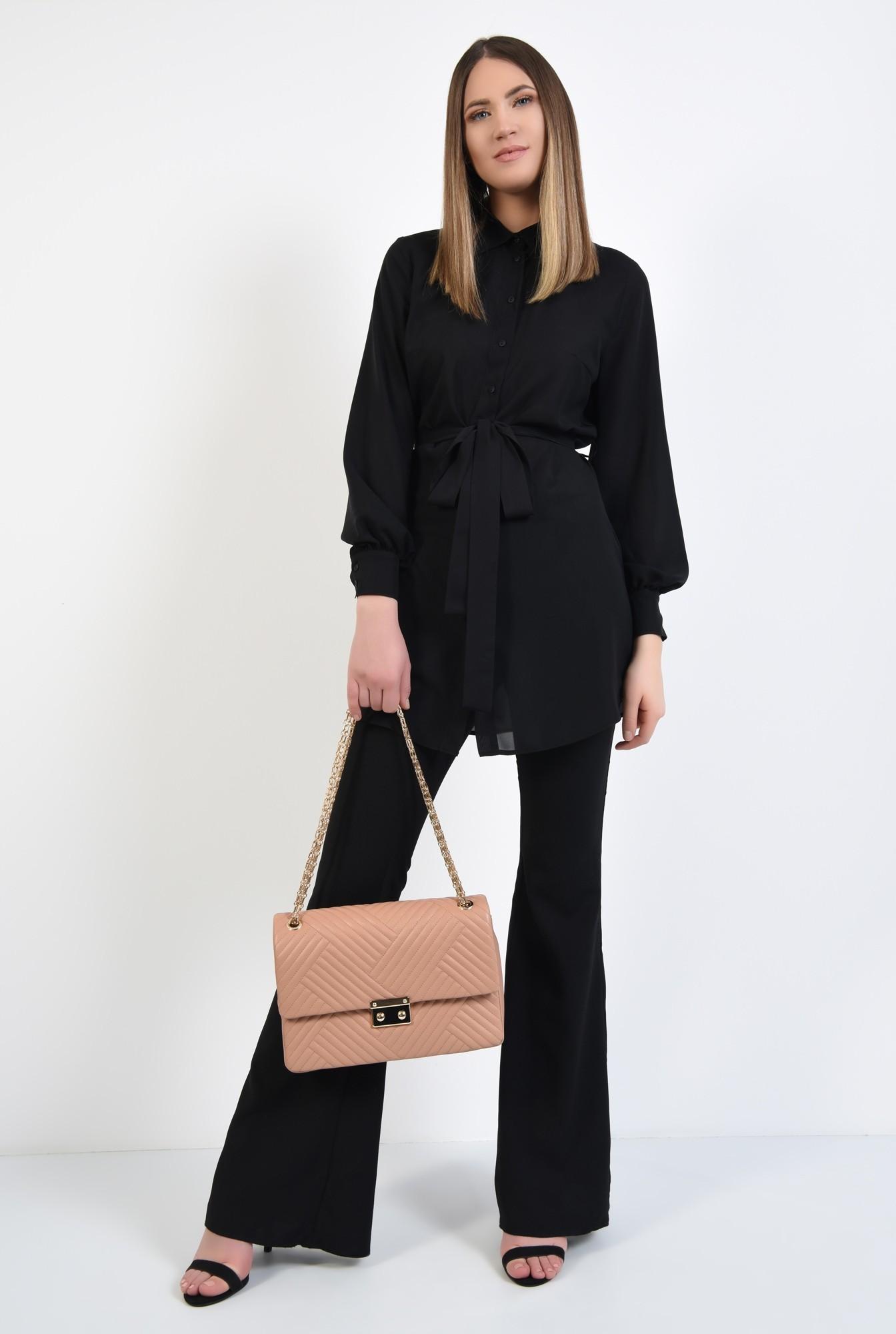 3 - camasa lunga, neagra, cu cordon, funda la talie, tunica