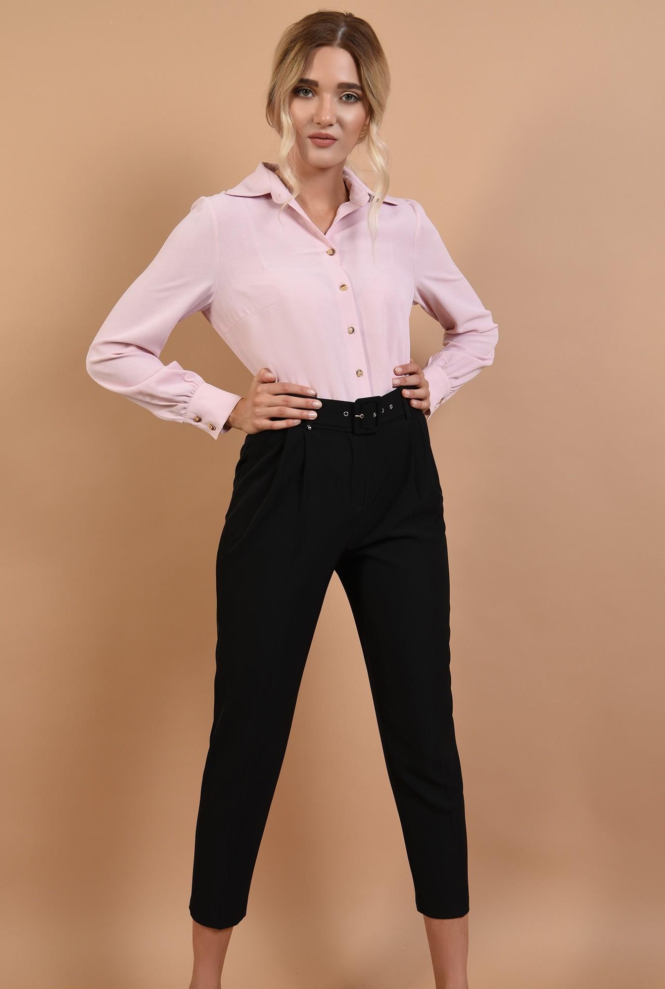 0 - camasa Poema, roz, office, cu nasturi, maneci lungi cu mansete