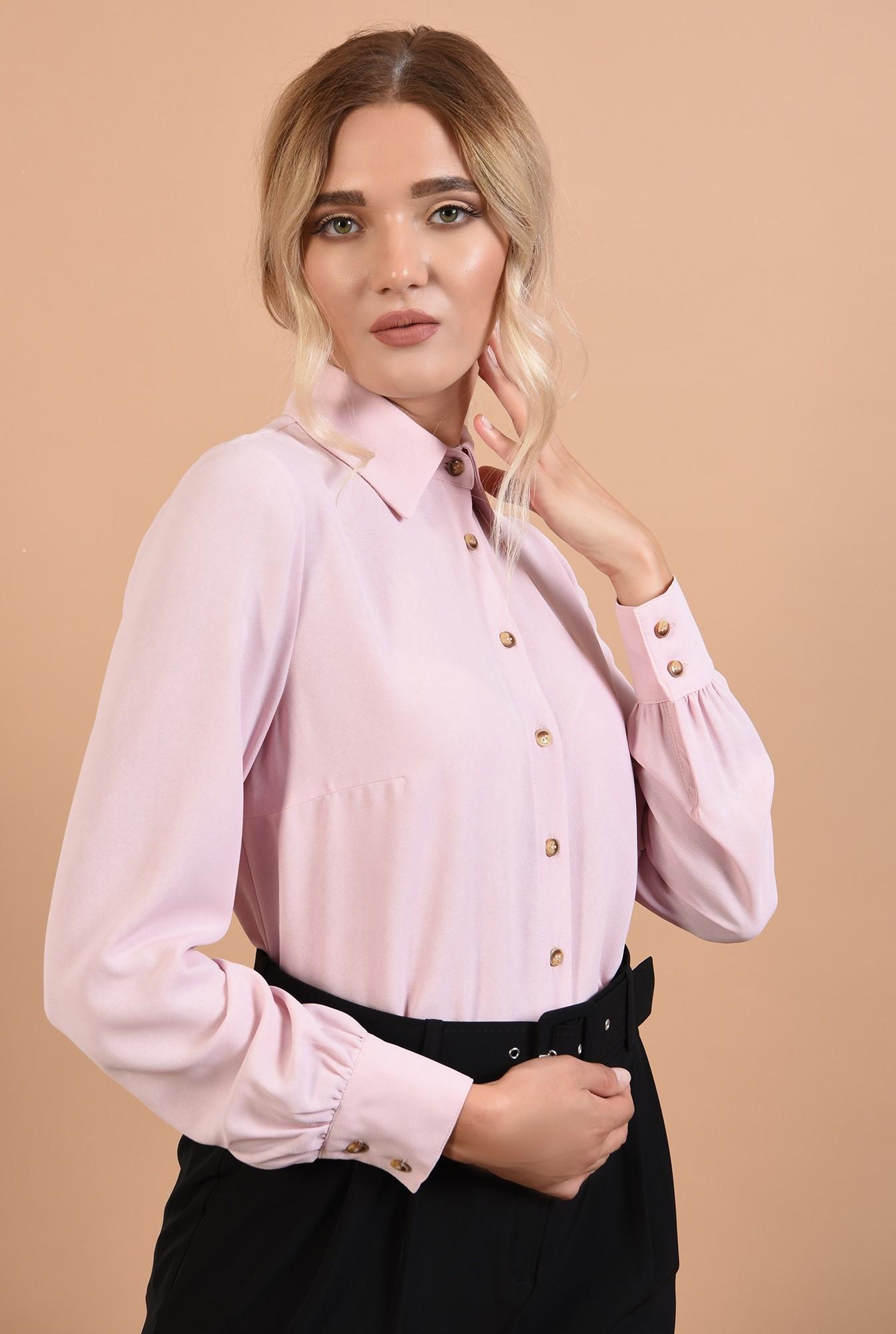 2 - camasa Poema, roz, office, cu nasturi, maneci lungi cu mansete