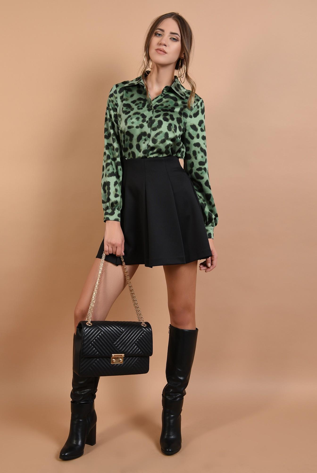 3 - camasa Poema, animal print, verde, maneci lungi, leopard