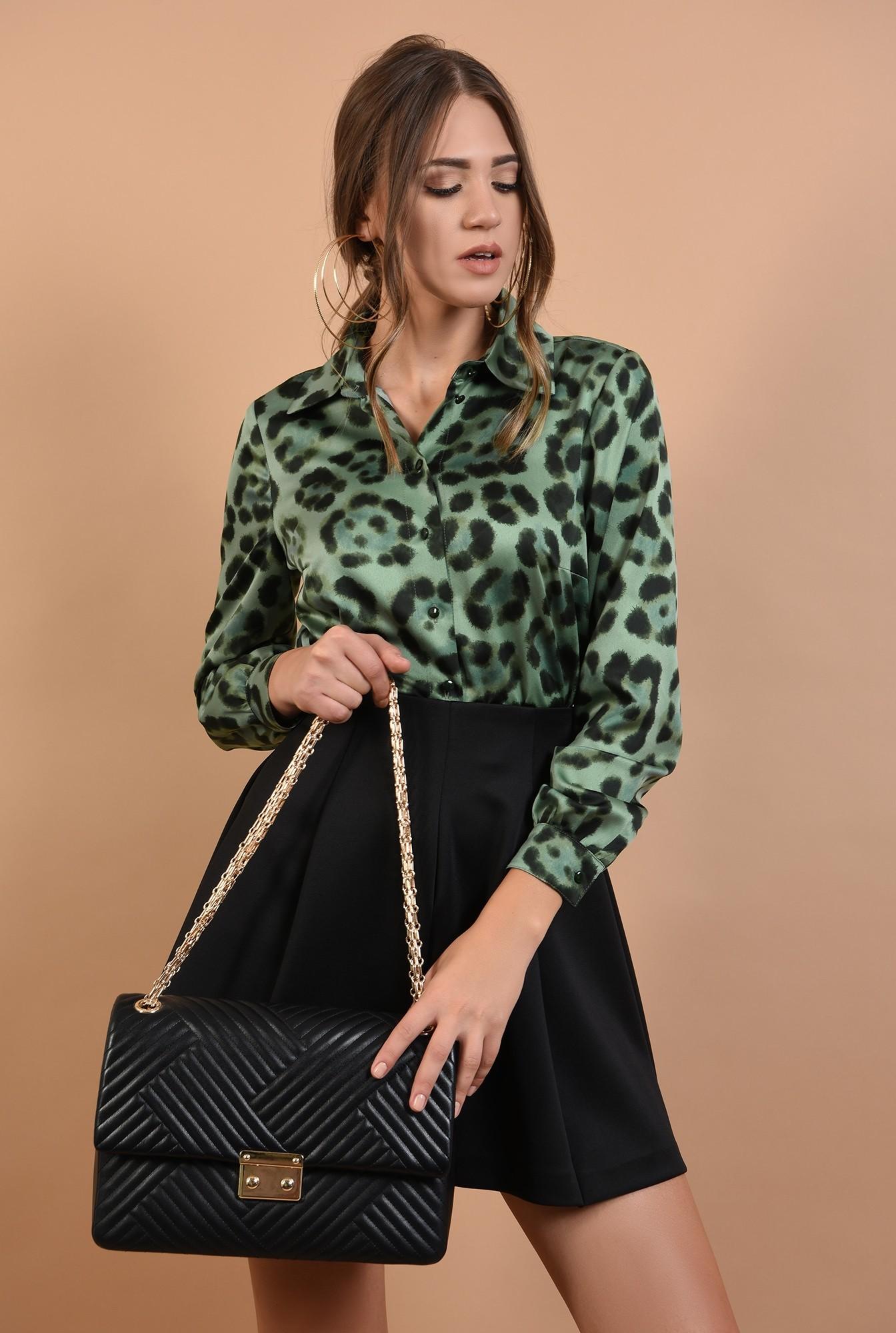 2 - camasa Poema, animal print, verde, maneci lungi, leopard