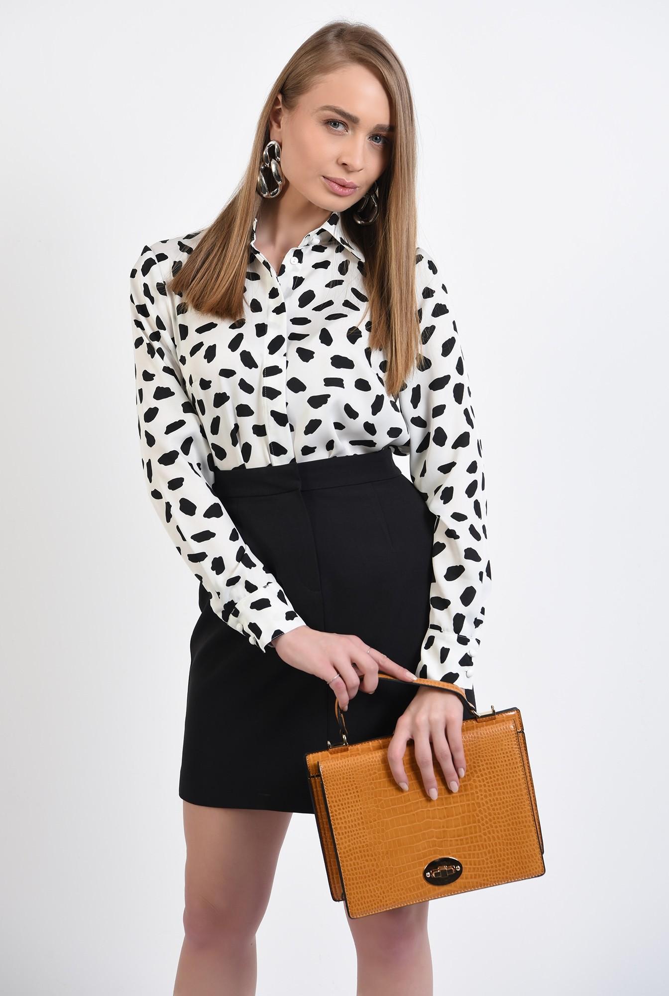 0 -  camasa cu imprimeu, din satin, alb-negru, camasa de primavara
