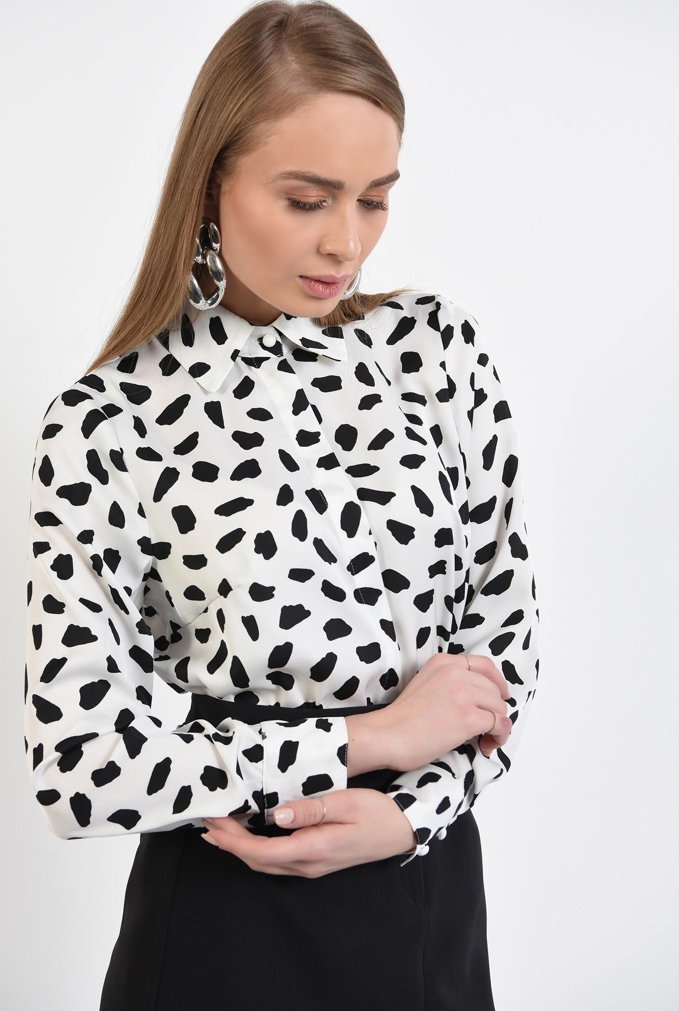 2 -  camasa cu imprimeu, din satin, alb-negru, camasa de primavara