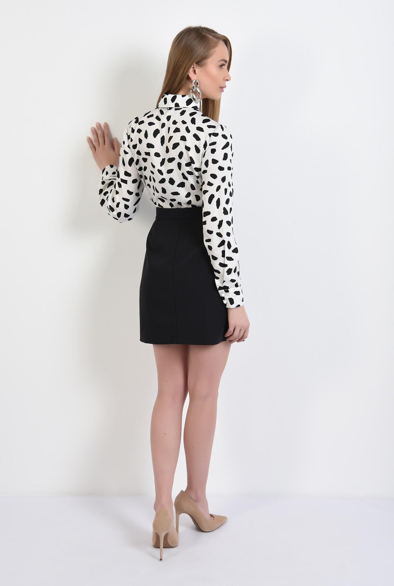 1 -  camasa cu imprimeu, din satin, alb-negru, camasa de primavara