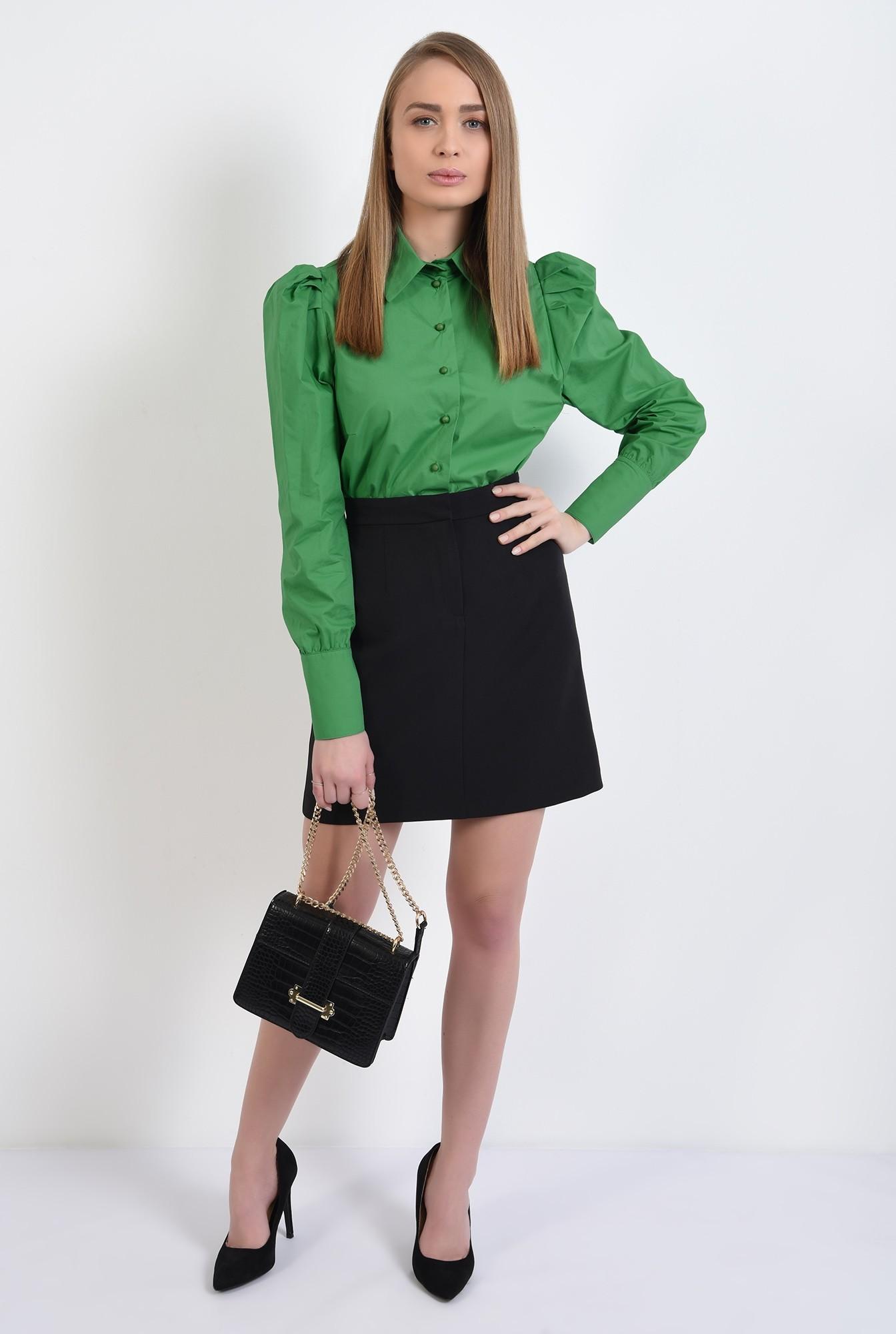 3 - camasa verde, casual, cu pliuri decorative, nasturi perla