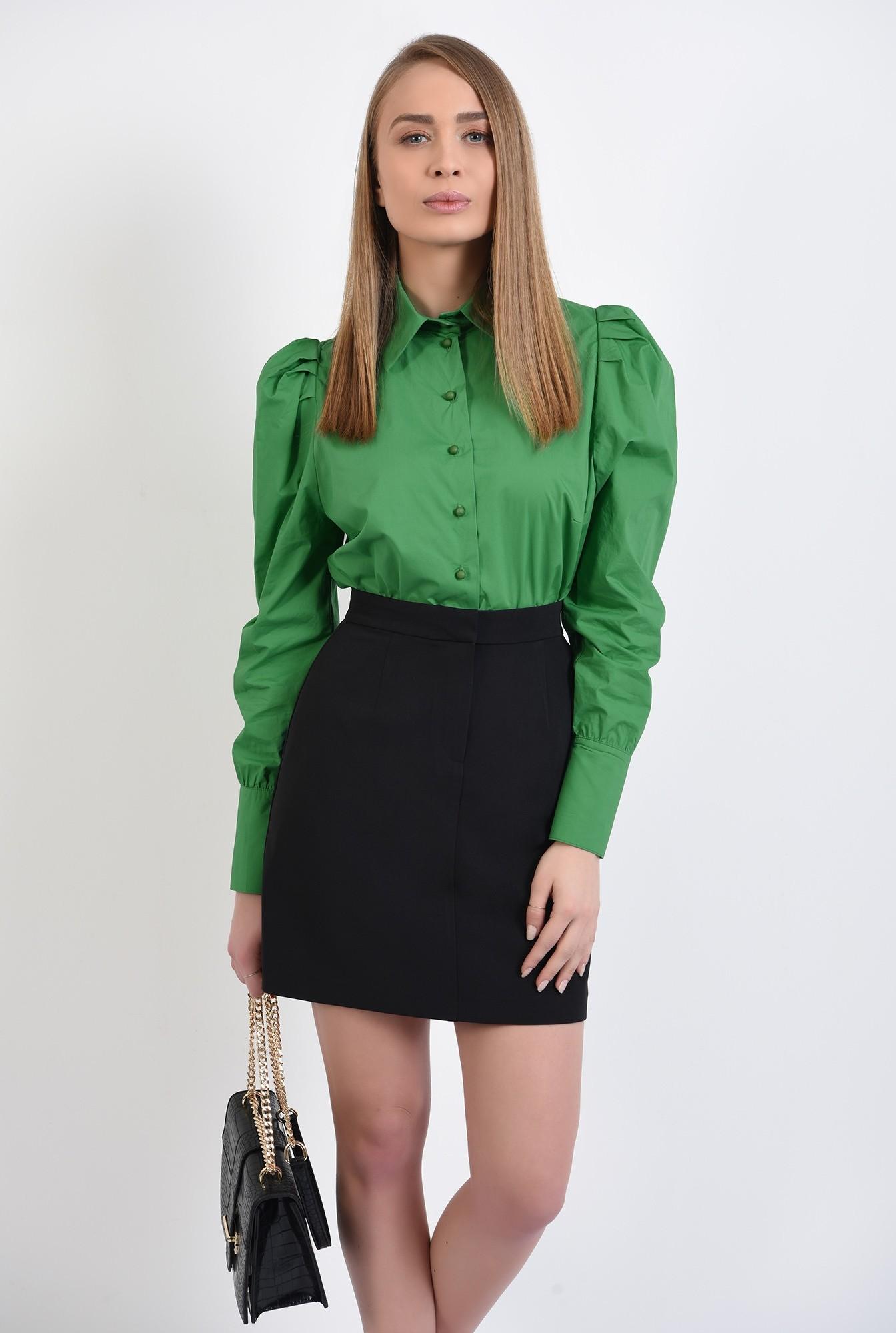 0 - camasa verde, casual, cu pliuri decorative, nasturi perla