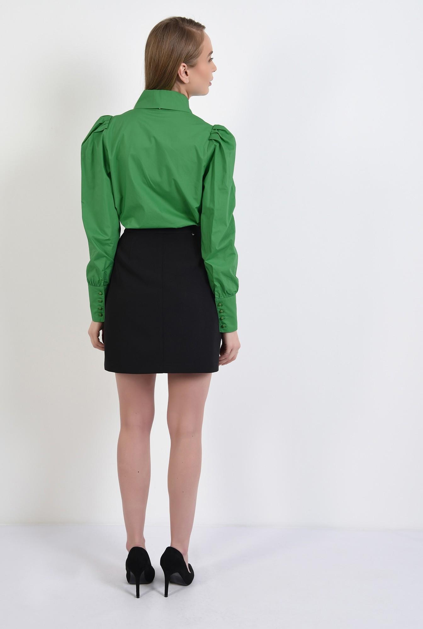 1 - camasa verde, casual, cu pliuri decorative, nasturi perla