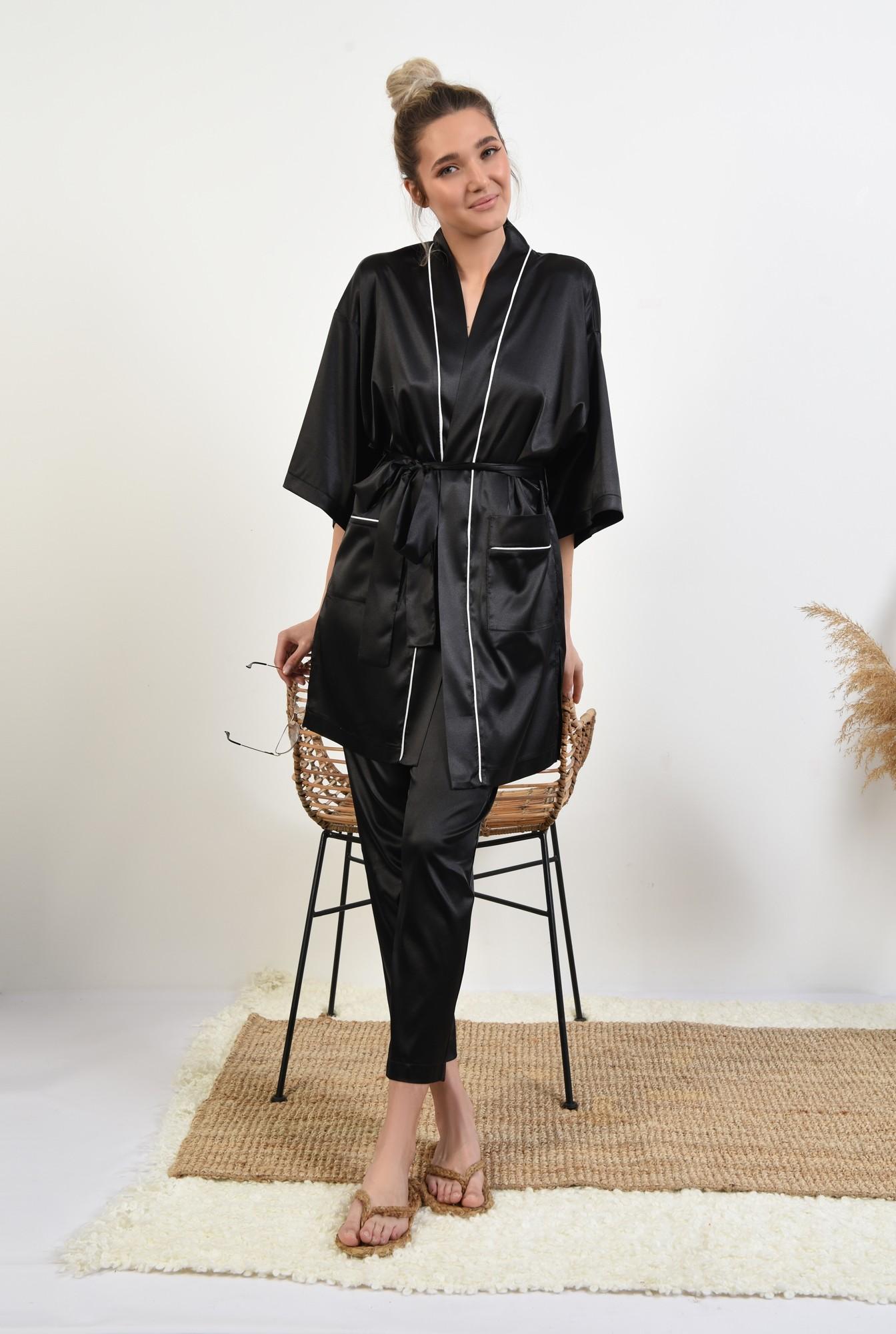 3 - cardigan din satin, negru, halat, cu borduri in contrast, cu buzunare