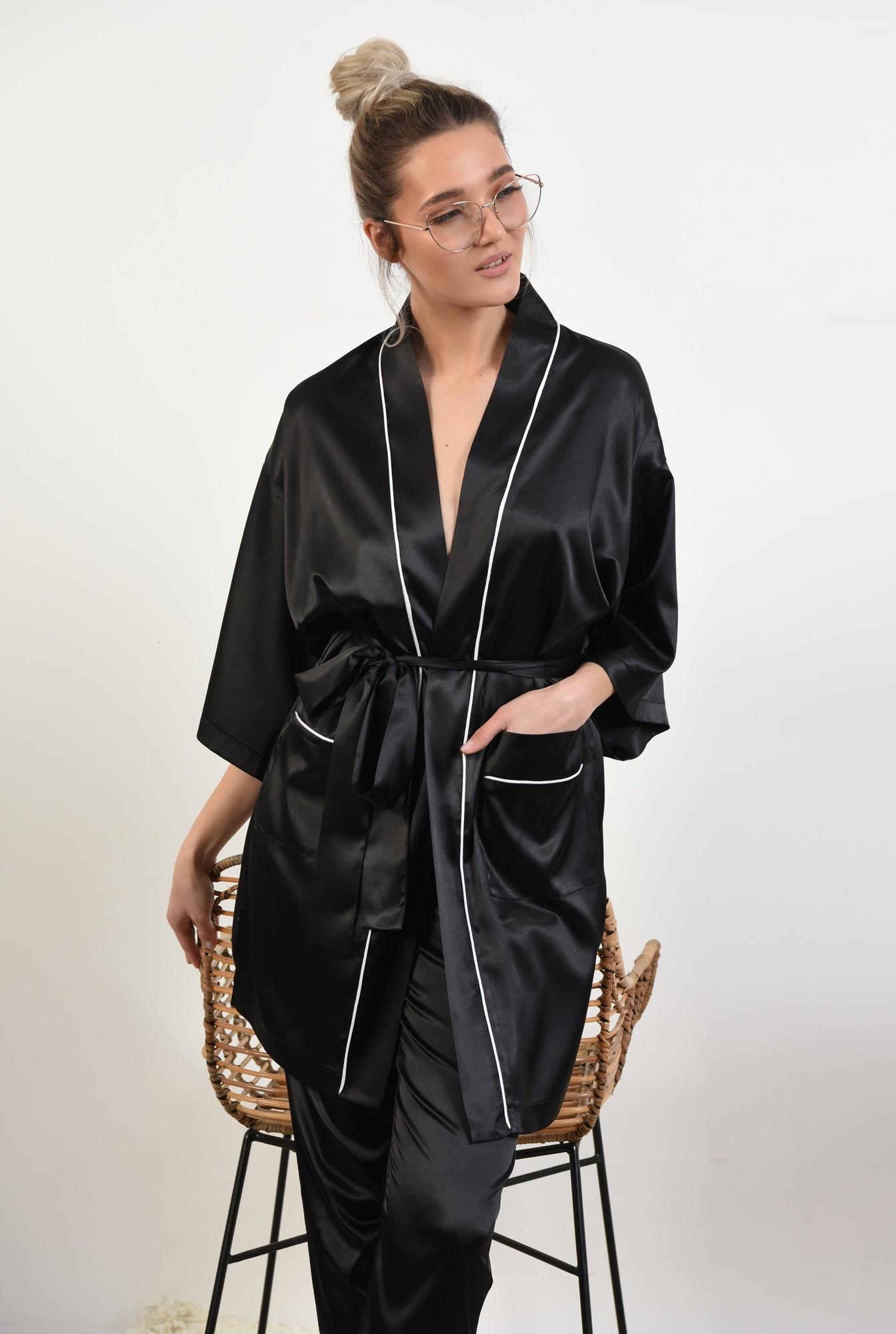 0 - cardigan din satin, negru, halat, cu borduri in contrast, cu buzunare