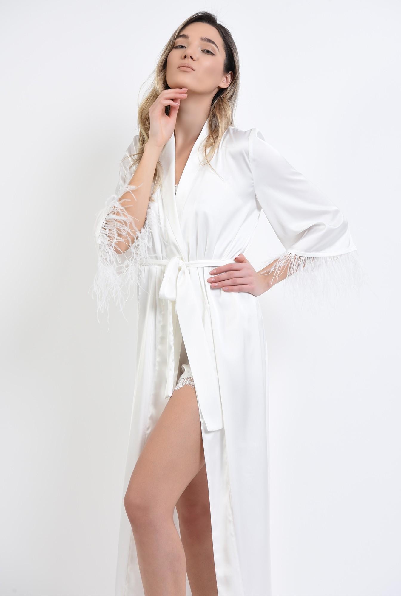 1 - cardigan alb, din satin, cu pene de strut