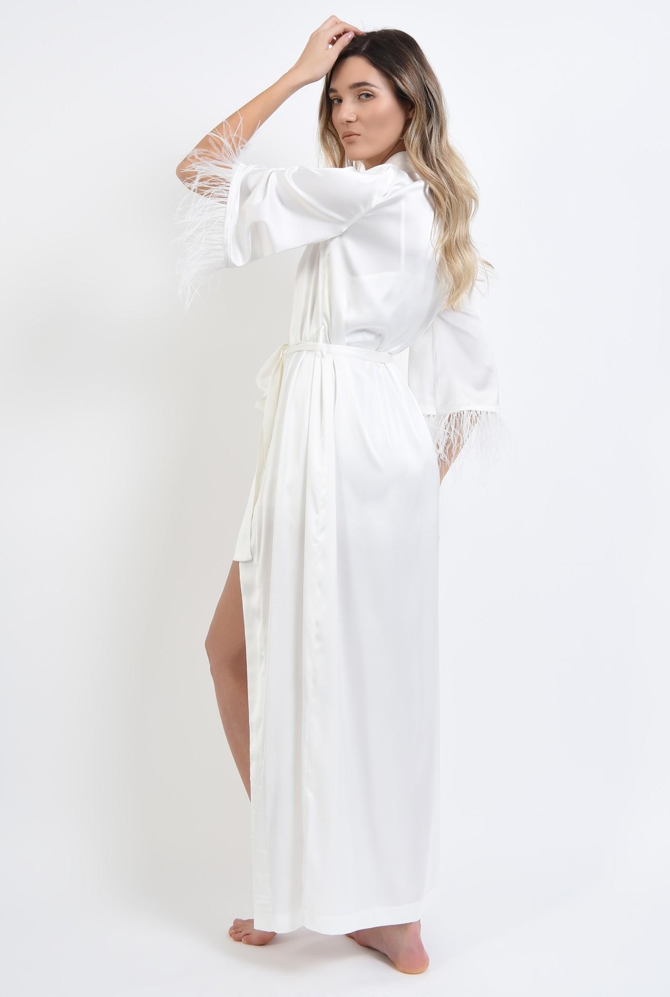 3 - cardigan alb, din satin, cu pene de strut