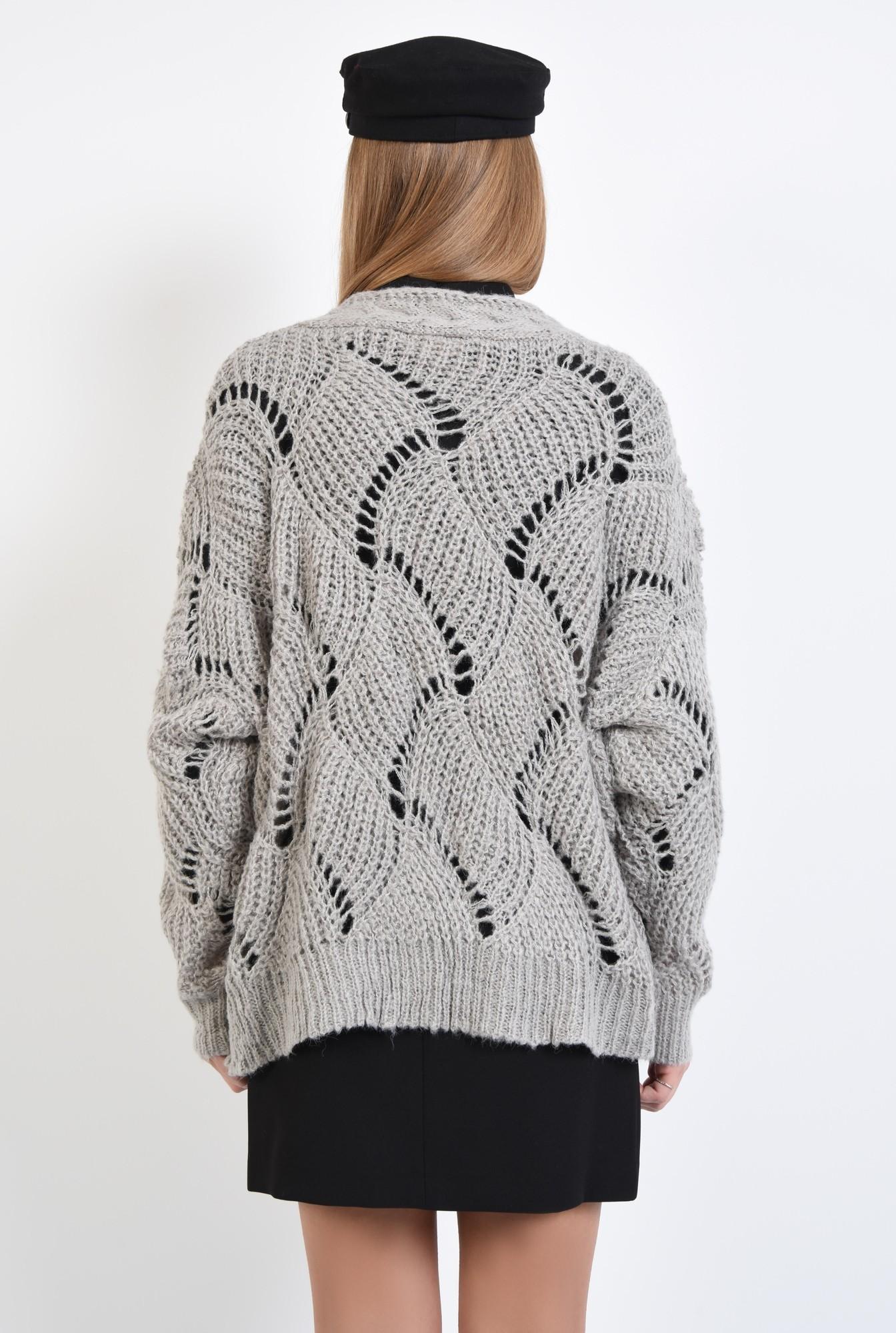 1 - cardigan tricotat, gri, fara sistem de inchidere, cu gaurele
