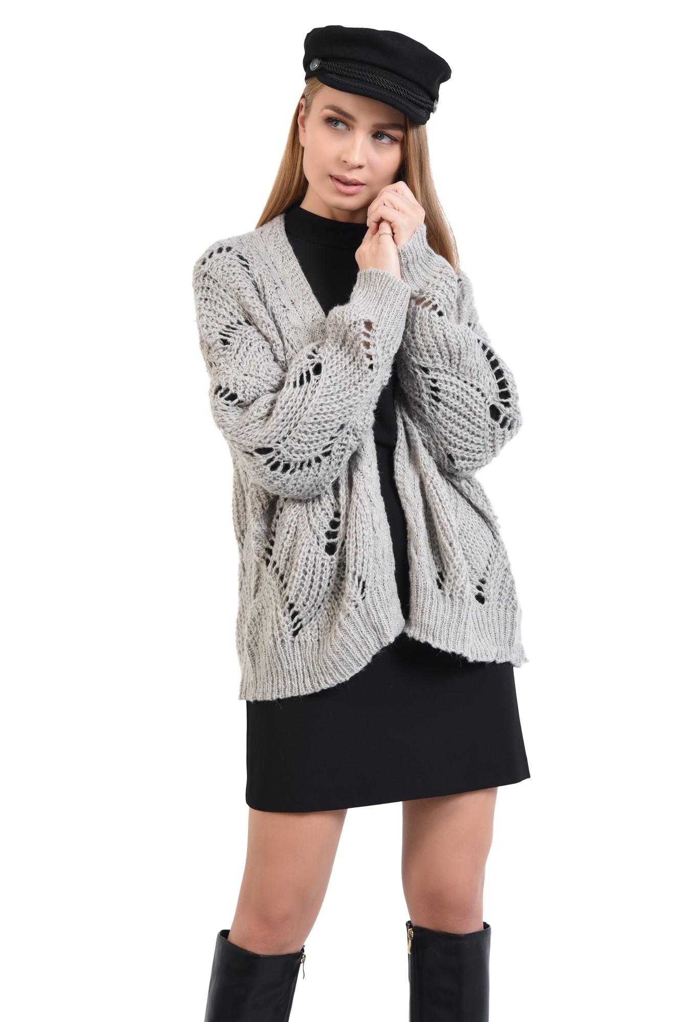 0 - cardigan tricotat, gri, fara sistem de inchidere, cu gaurele