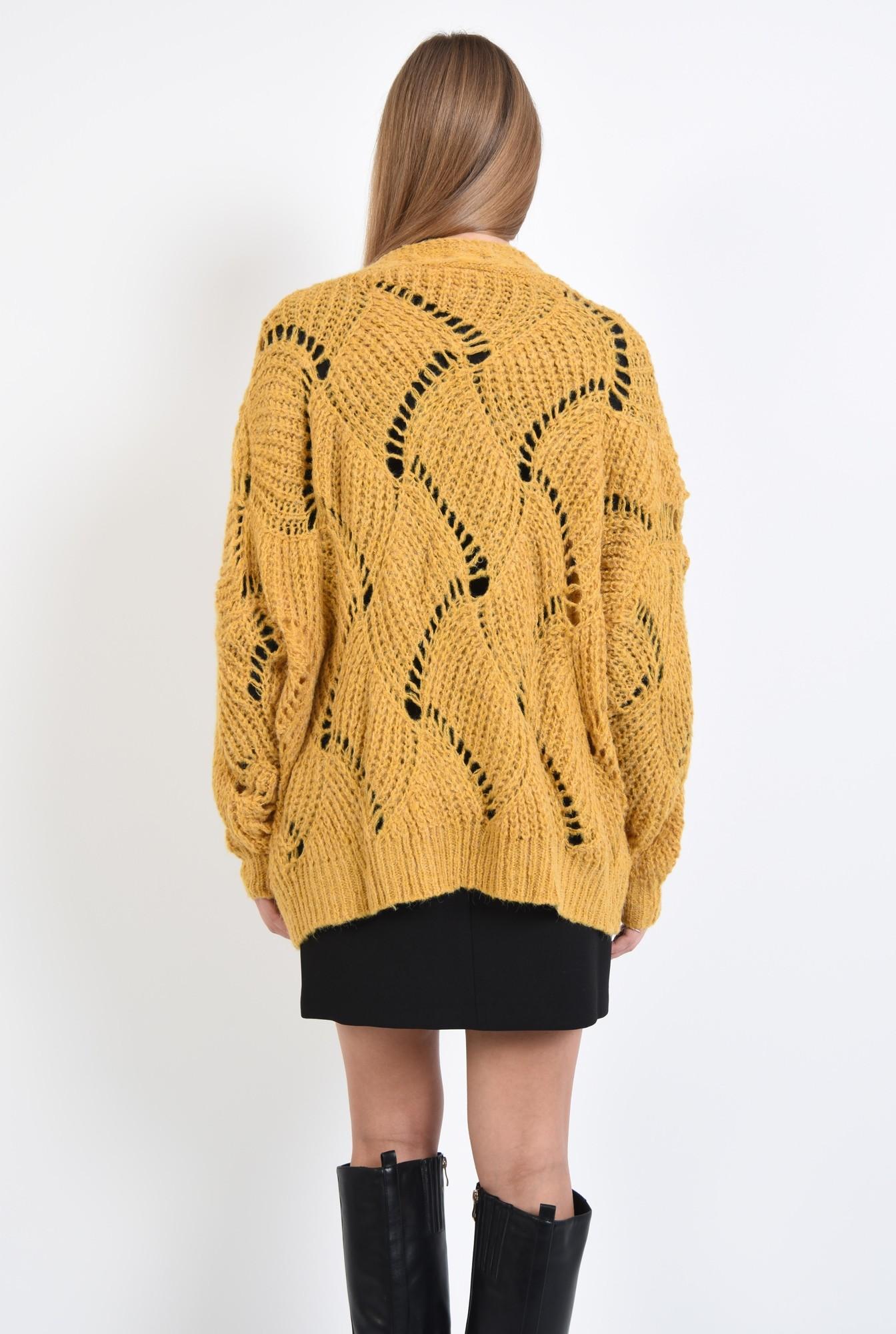 1 - cardigan tricotat, bordura reiata, mansete reiate, mustar, croi relaxat