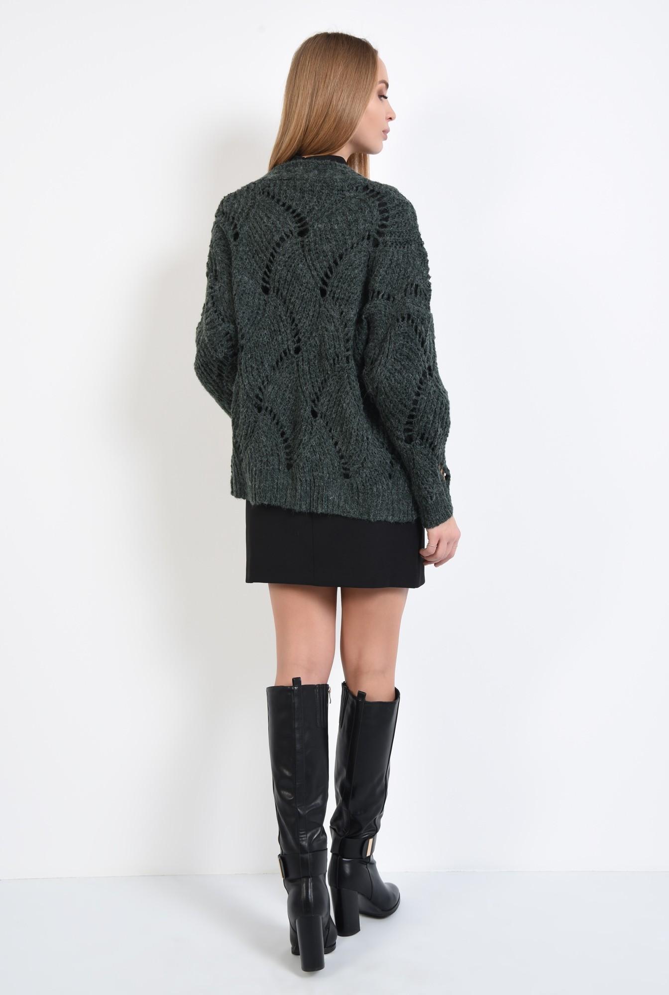 1 - 360 - pulover verde, jacheta tricotata, motive ajurate, cu ochiuri largi