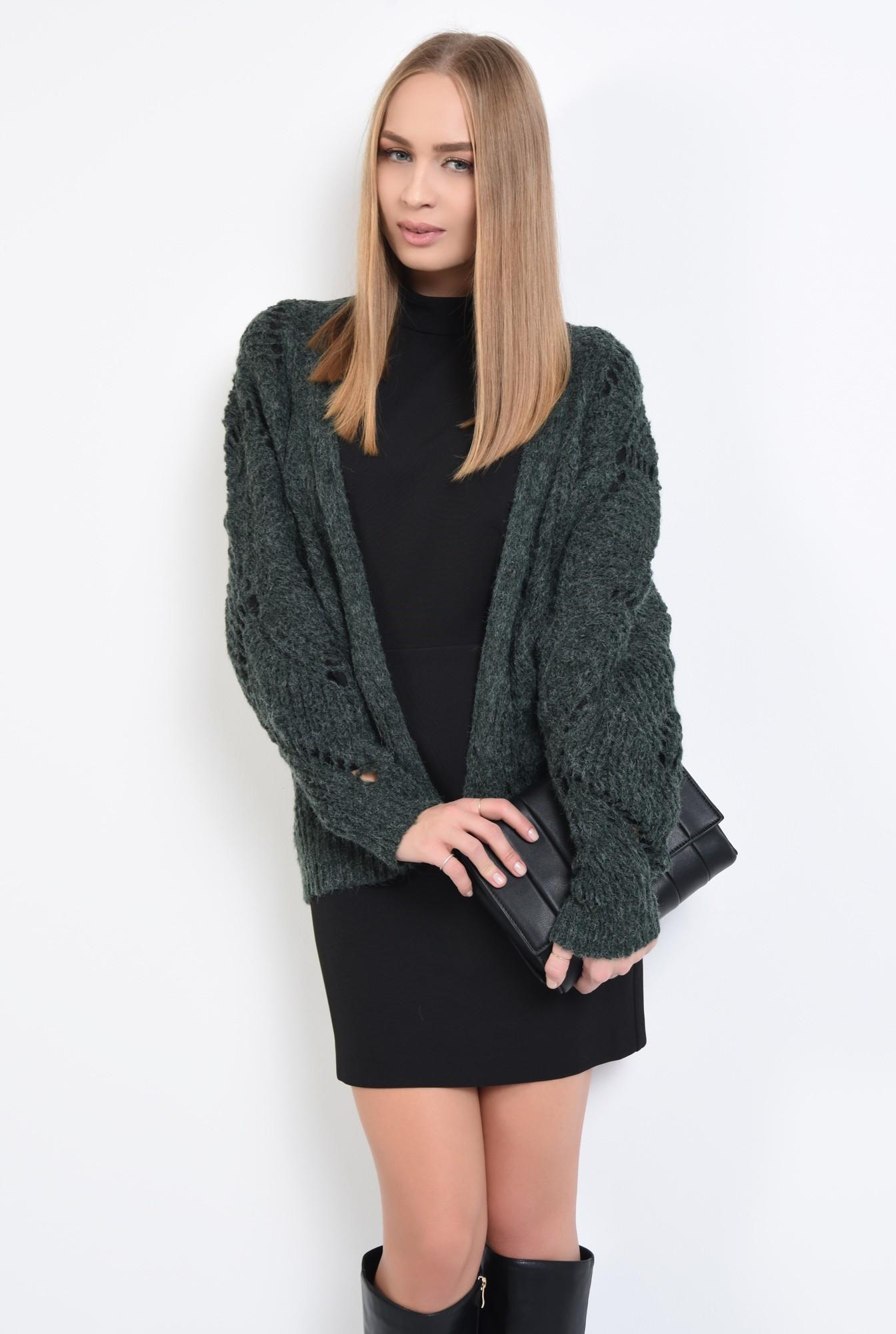 0 - 360 - pulover verde, jacheta tricotata, motive ajurate, cu ochiuri largi