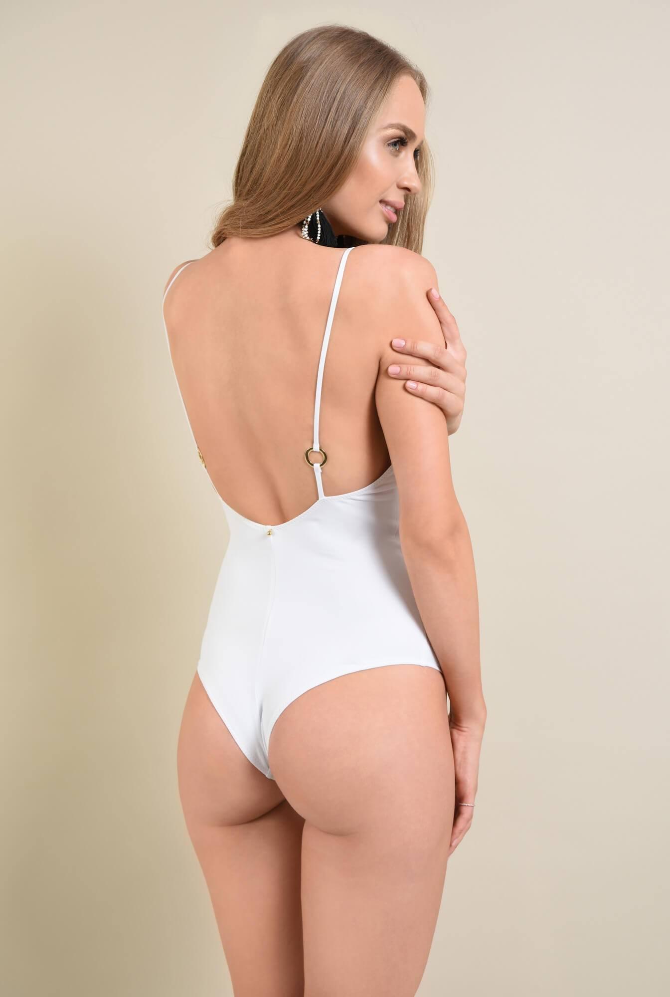 3 - costum de baie intreg, alb, decoltat