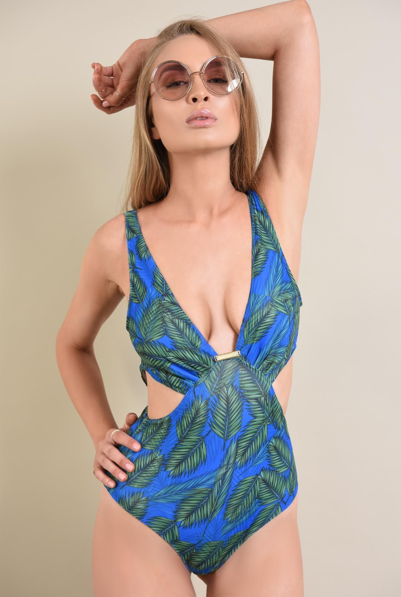 4 - costum de baie intreg, albastru, verde, imprimeu