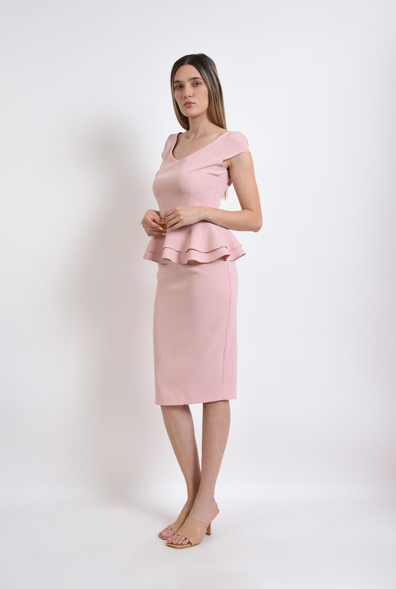 0 - compleu roz, fusta midi, top cu peplum, compleu elegant