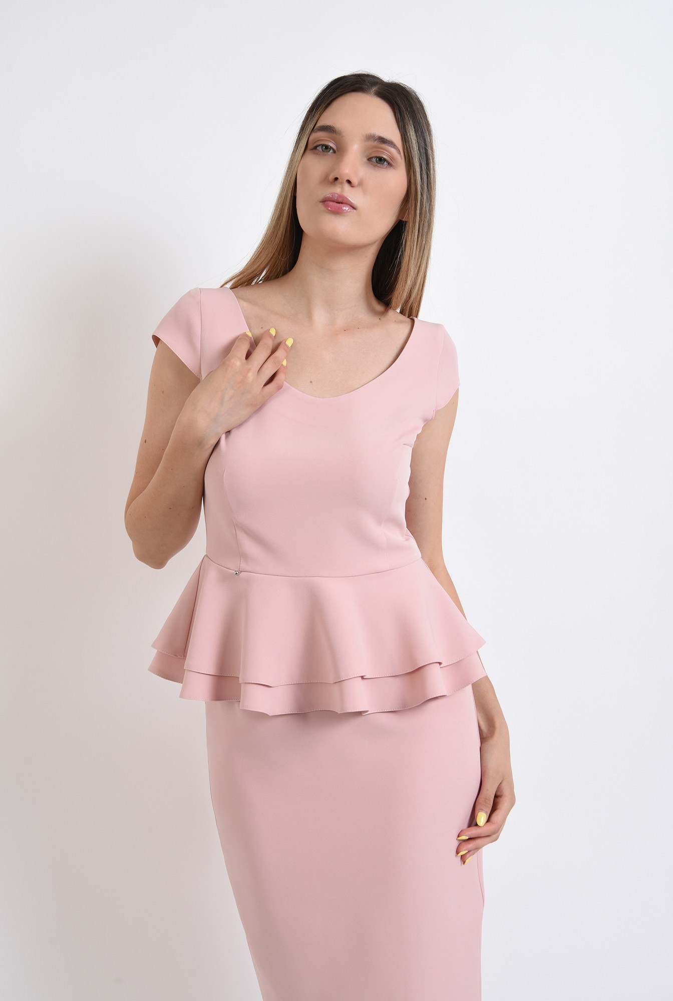2 - compleu roz, fusta midi, top cu peplum, compleu elegant