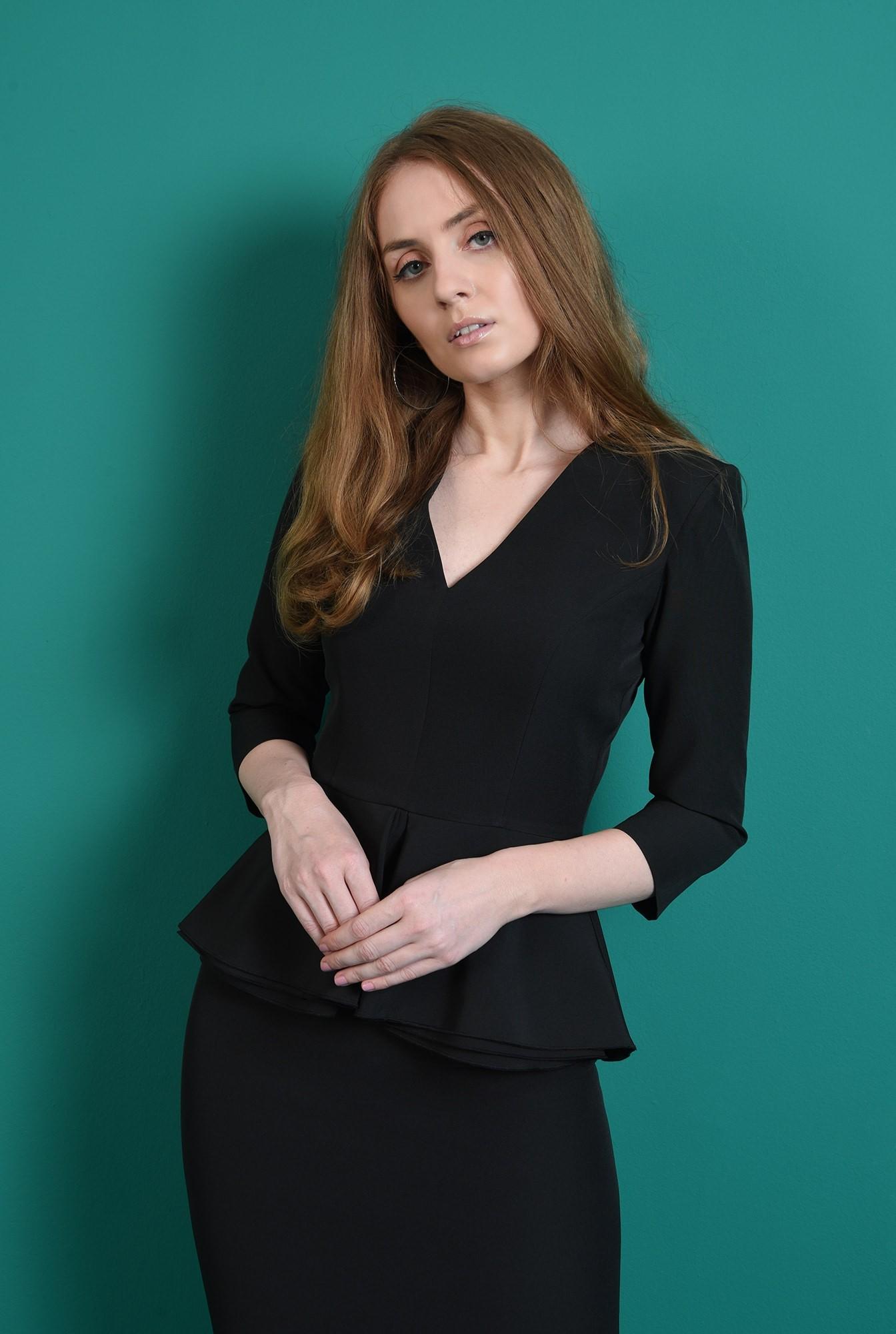 1 - compleu negru, office, cu fusta midi