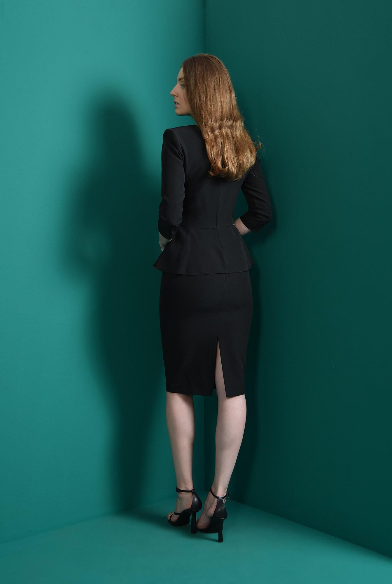 2 - compleu negru, office, cu fusta midi
