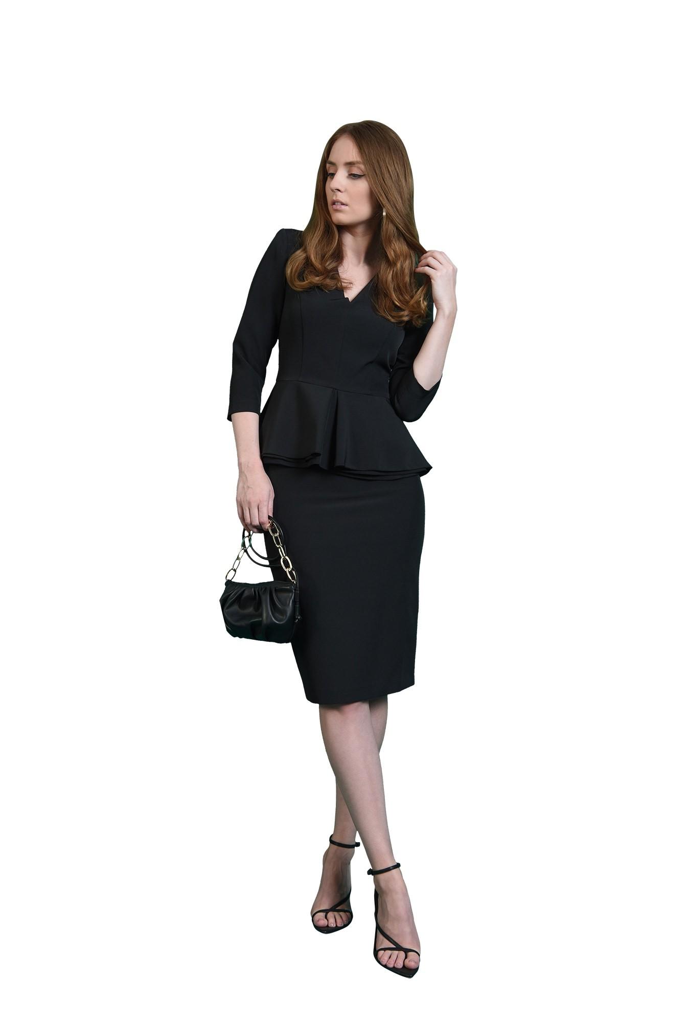 3 - compleu negru, office, cu fusta midi