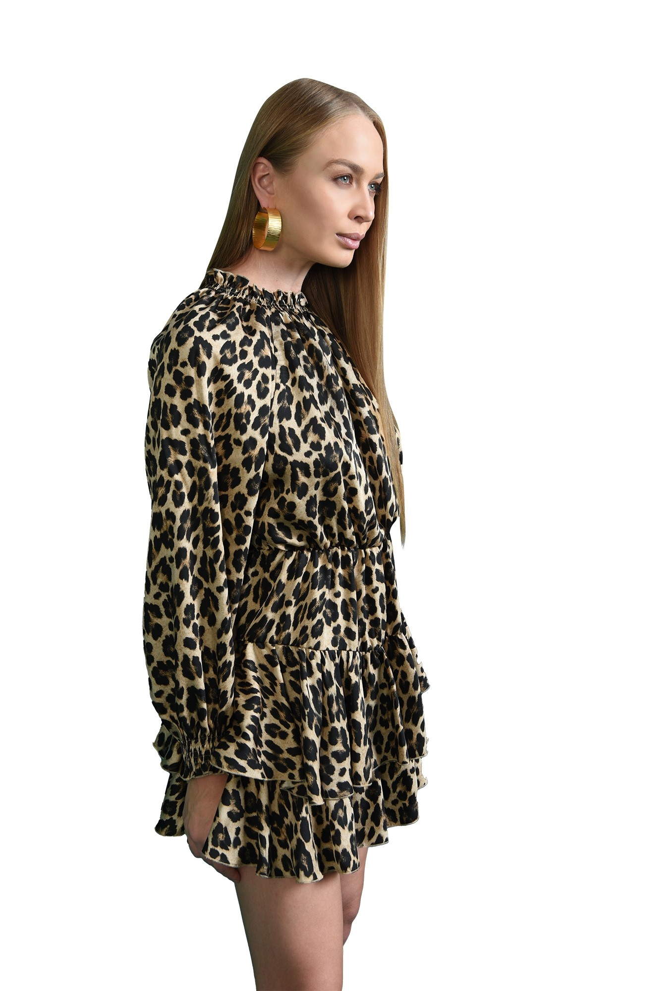 3 - rochie animal print, cu maneca lunga, Poema
