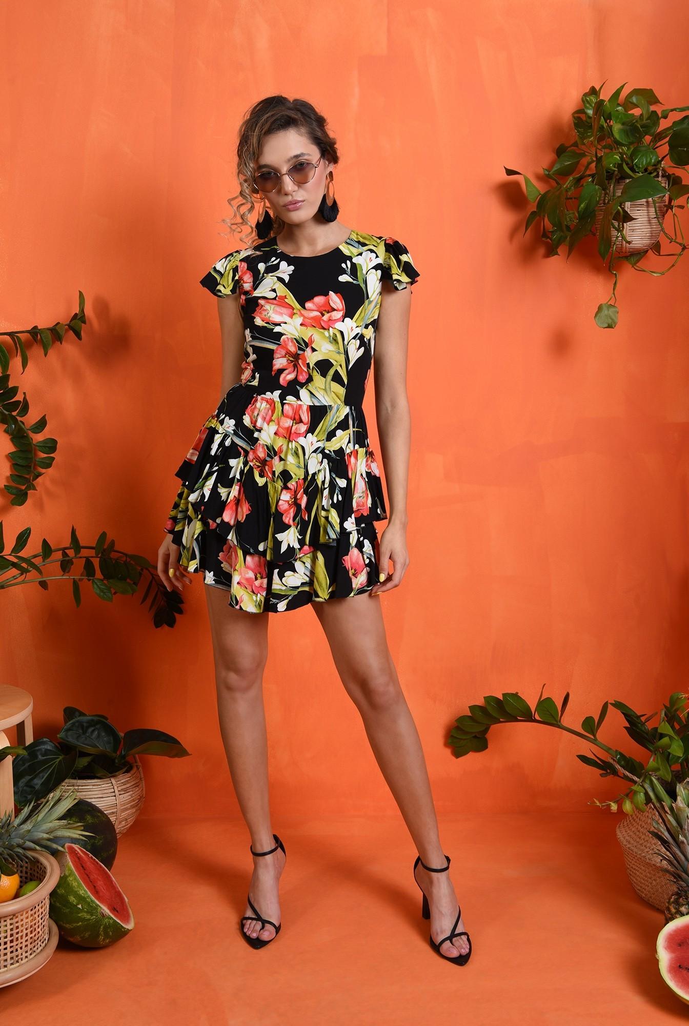 0 - rochie cu imprimeu floral, cu maneca scurta