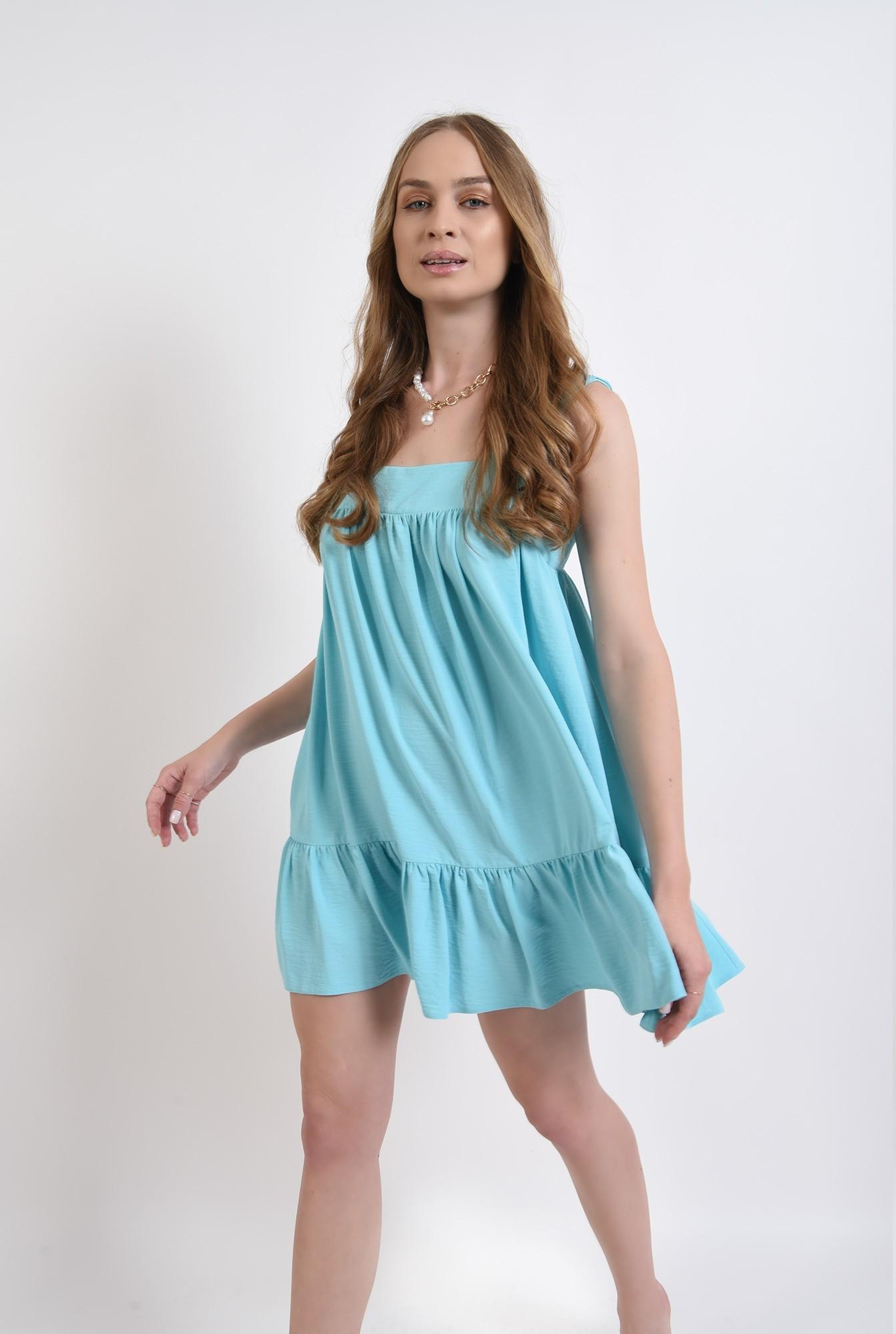 2 - rochie scurta, aqua, cu decolteu geometric