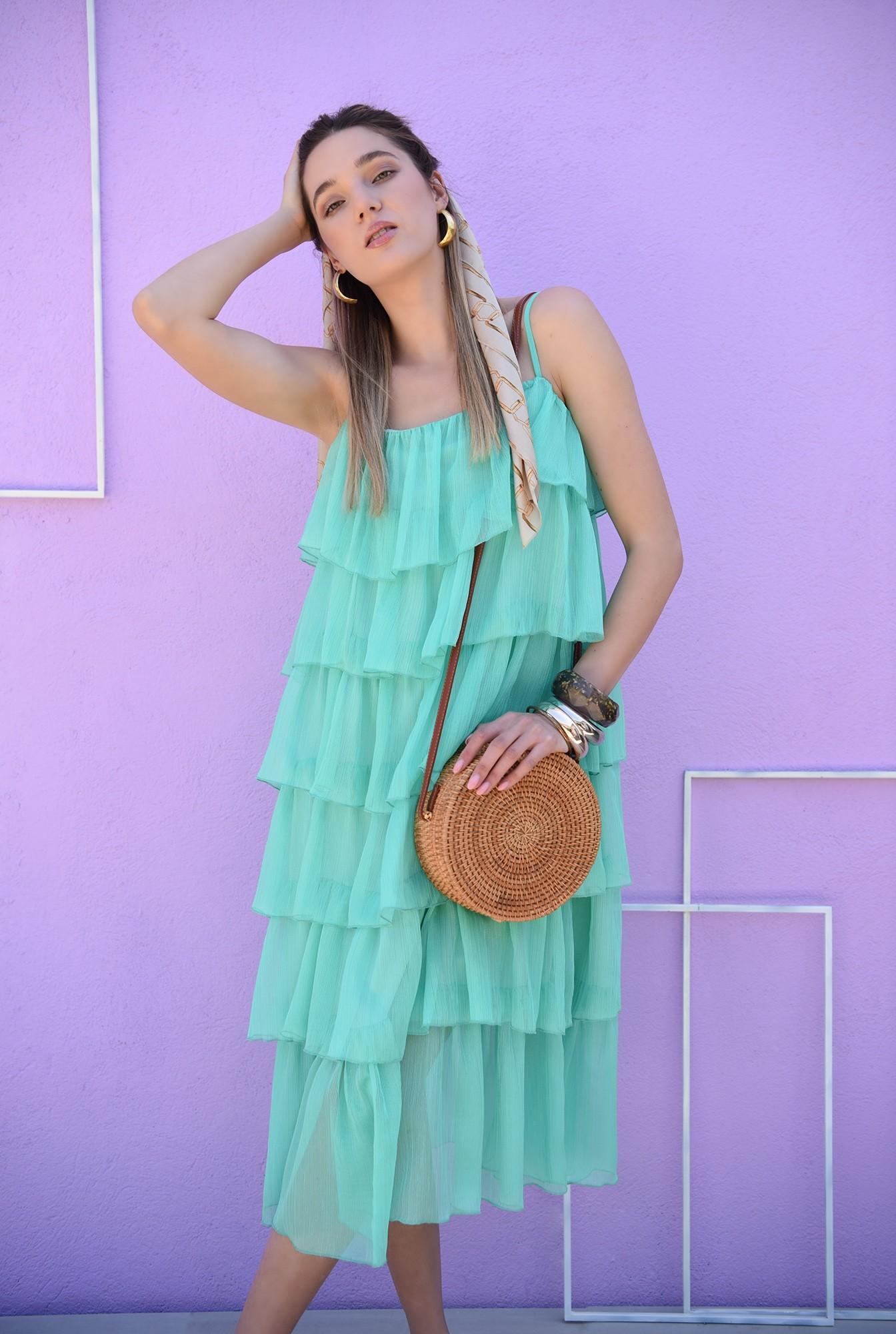 1 - rochie midi, verde, cu volane