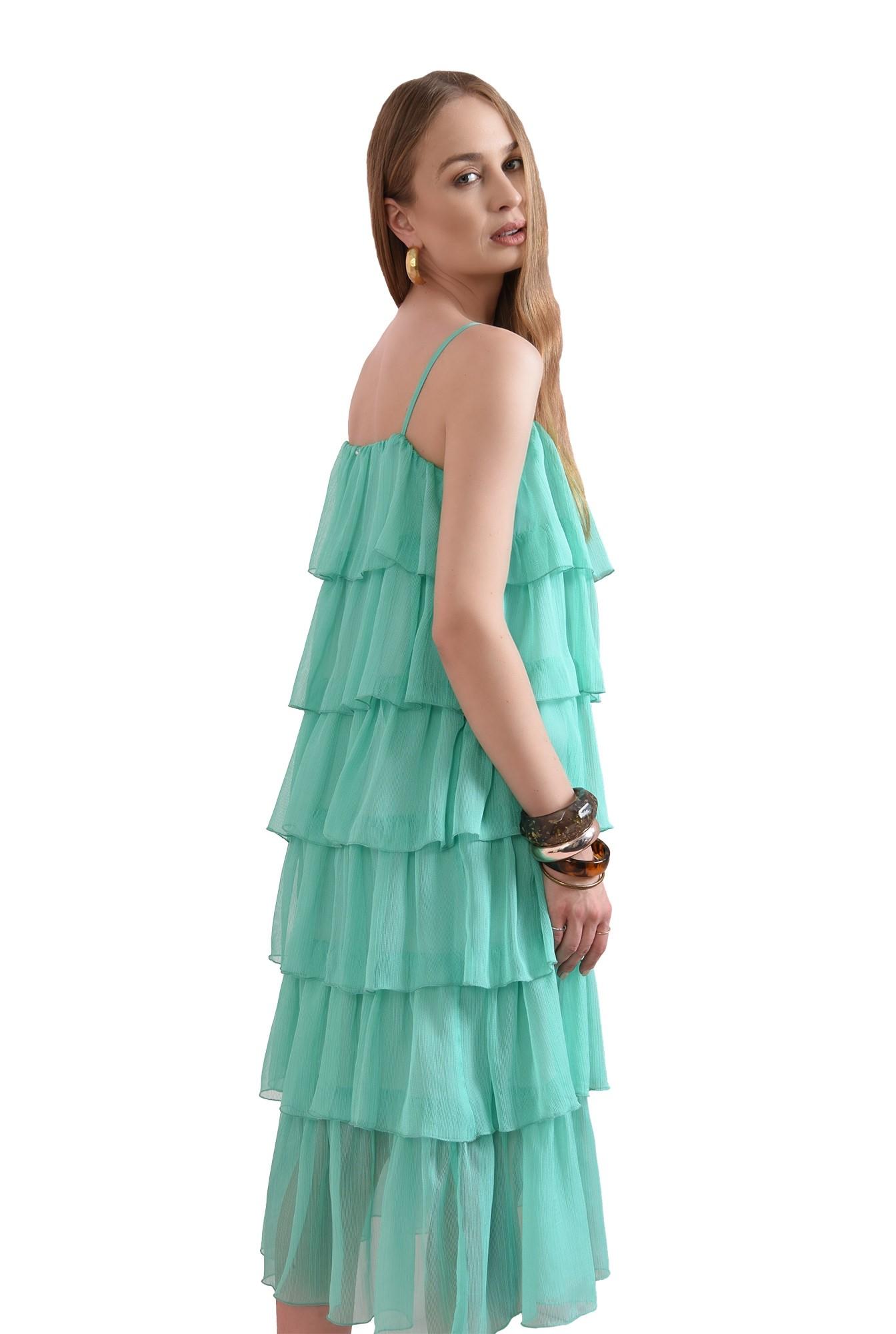 3 - rochie midi, verde, cu volane
