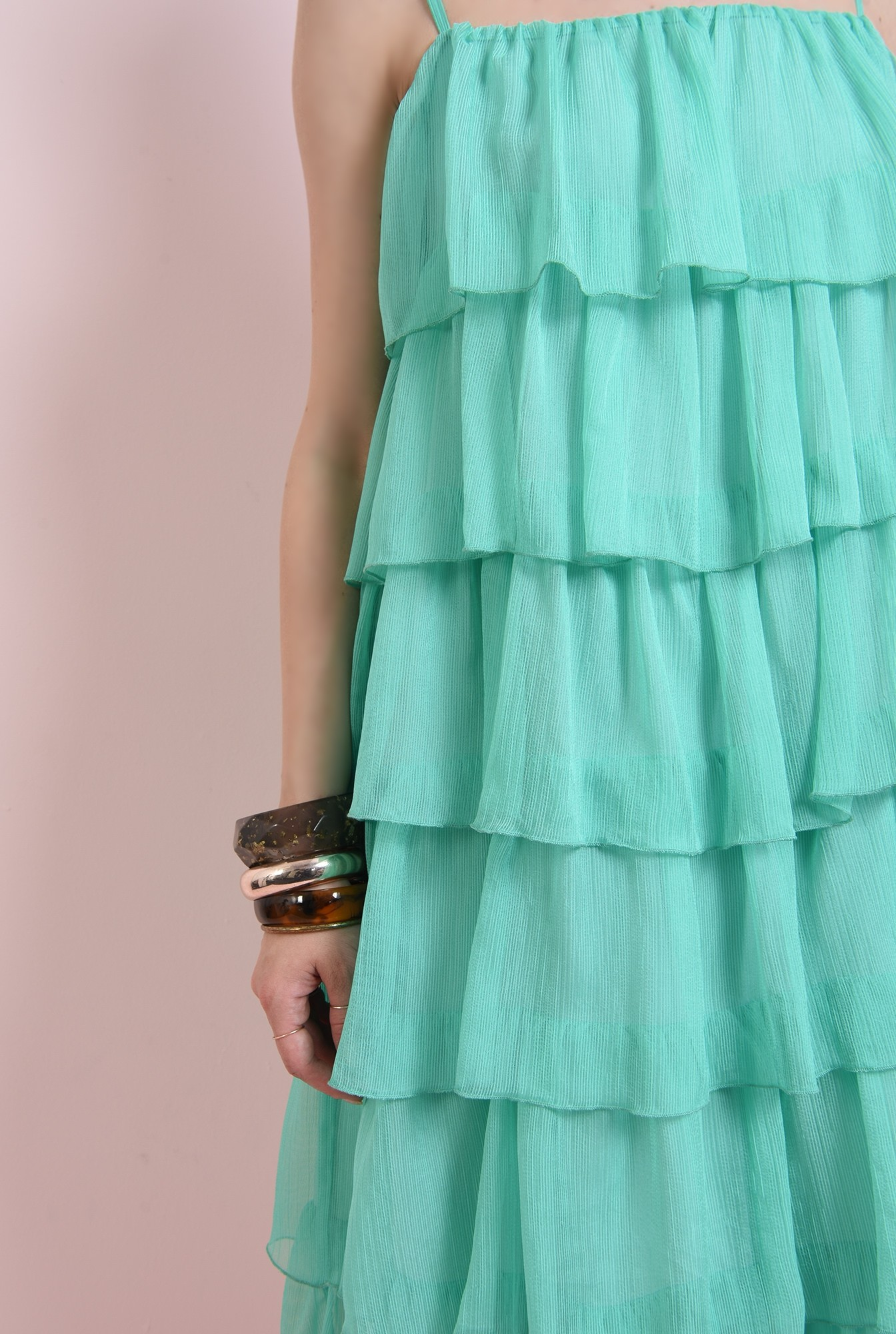 2 - rochie midi, verde, cu volane