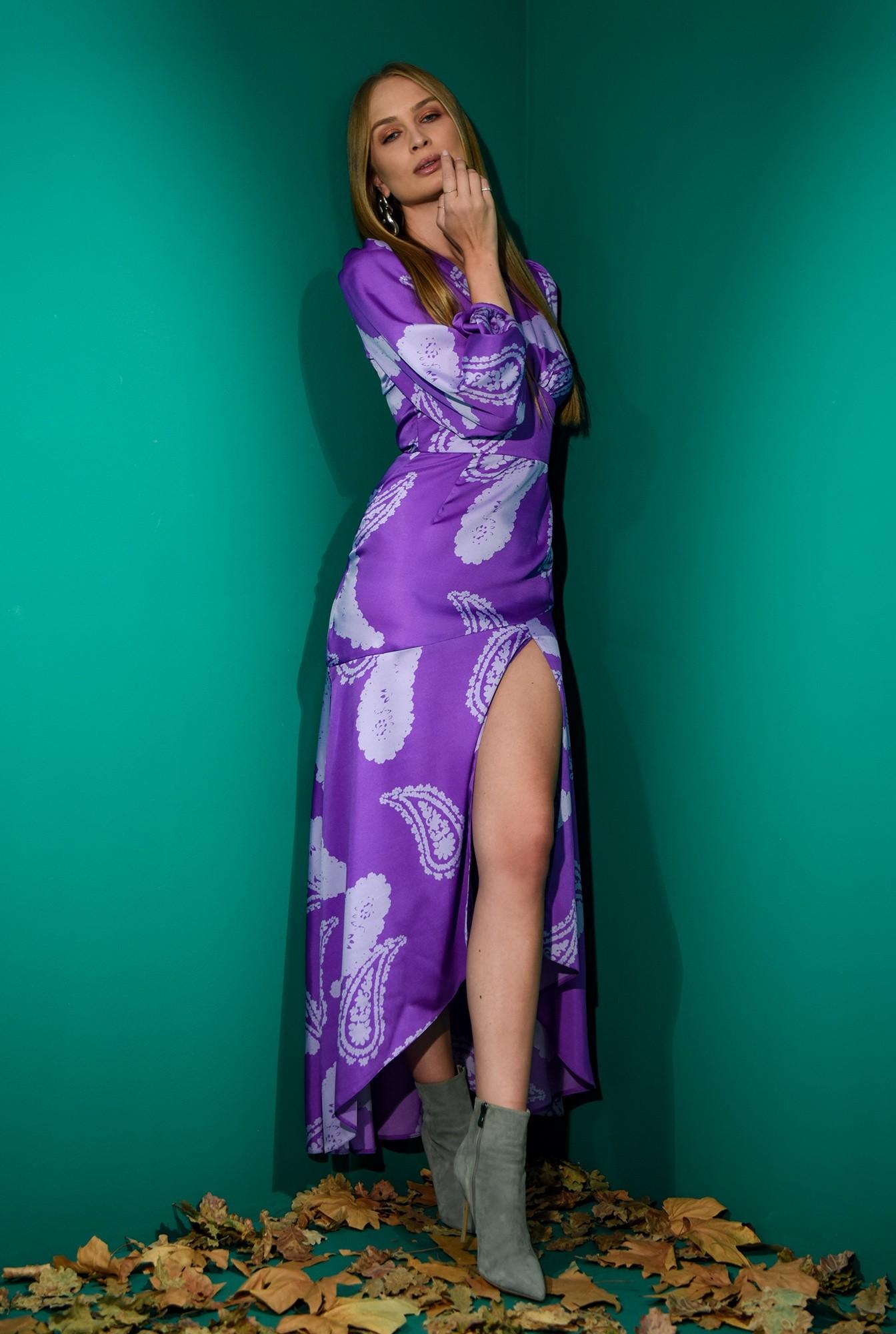 0 - rochie cu imprimeu, mov, eleganta