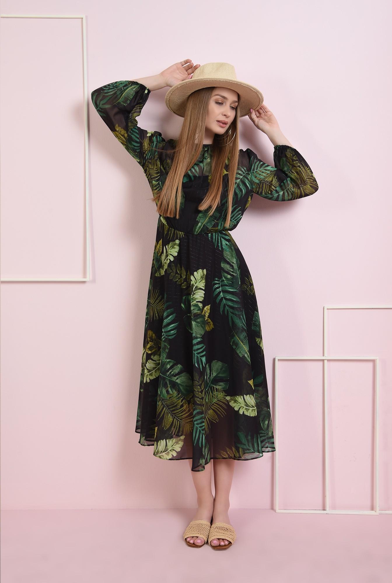 0 - rochie cu imprimeu botanic, evazata