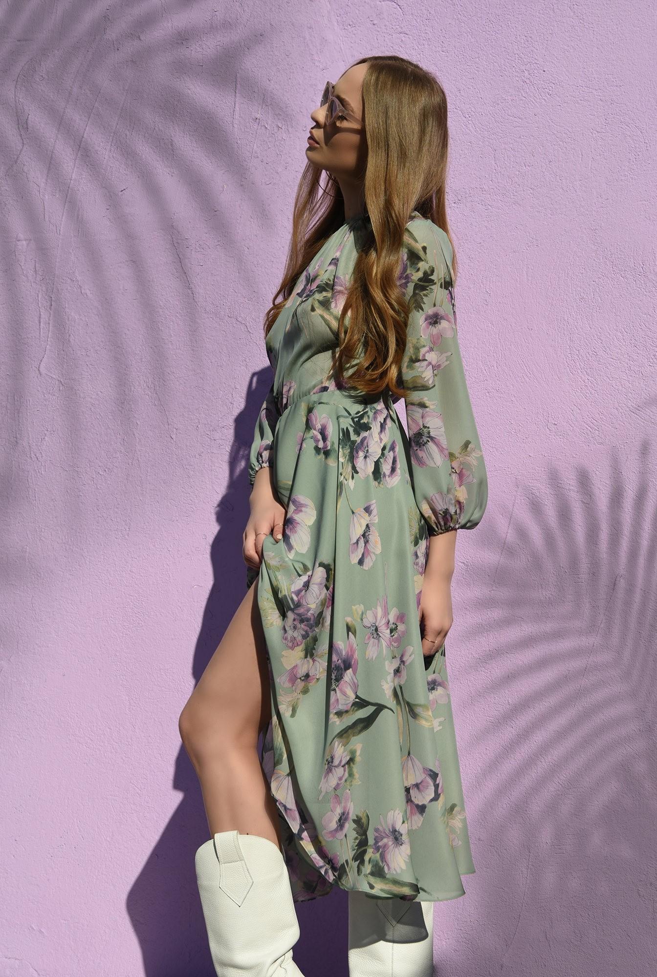 0 - rochie verde, midi, cu print