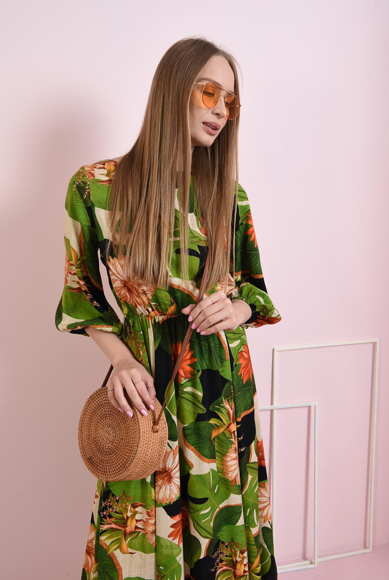 0 - rochie evazata, cu print floral