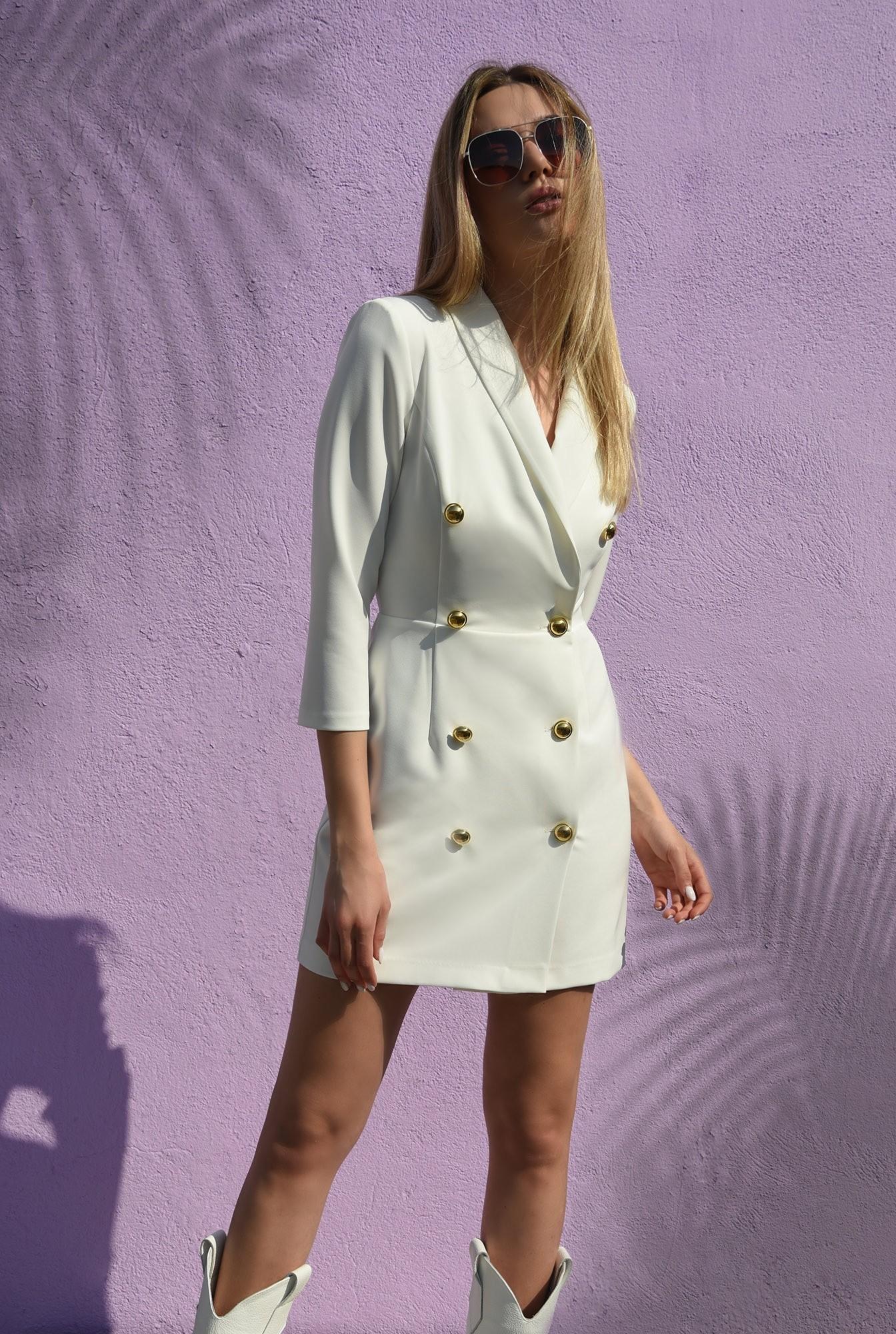 0 - 360 - rochie mini, ivoar, cu nasturi aurii