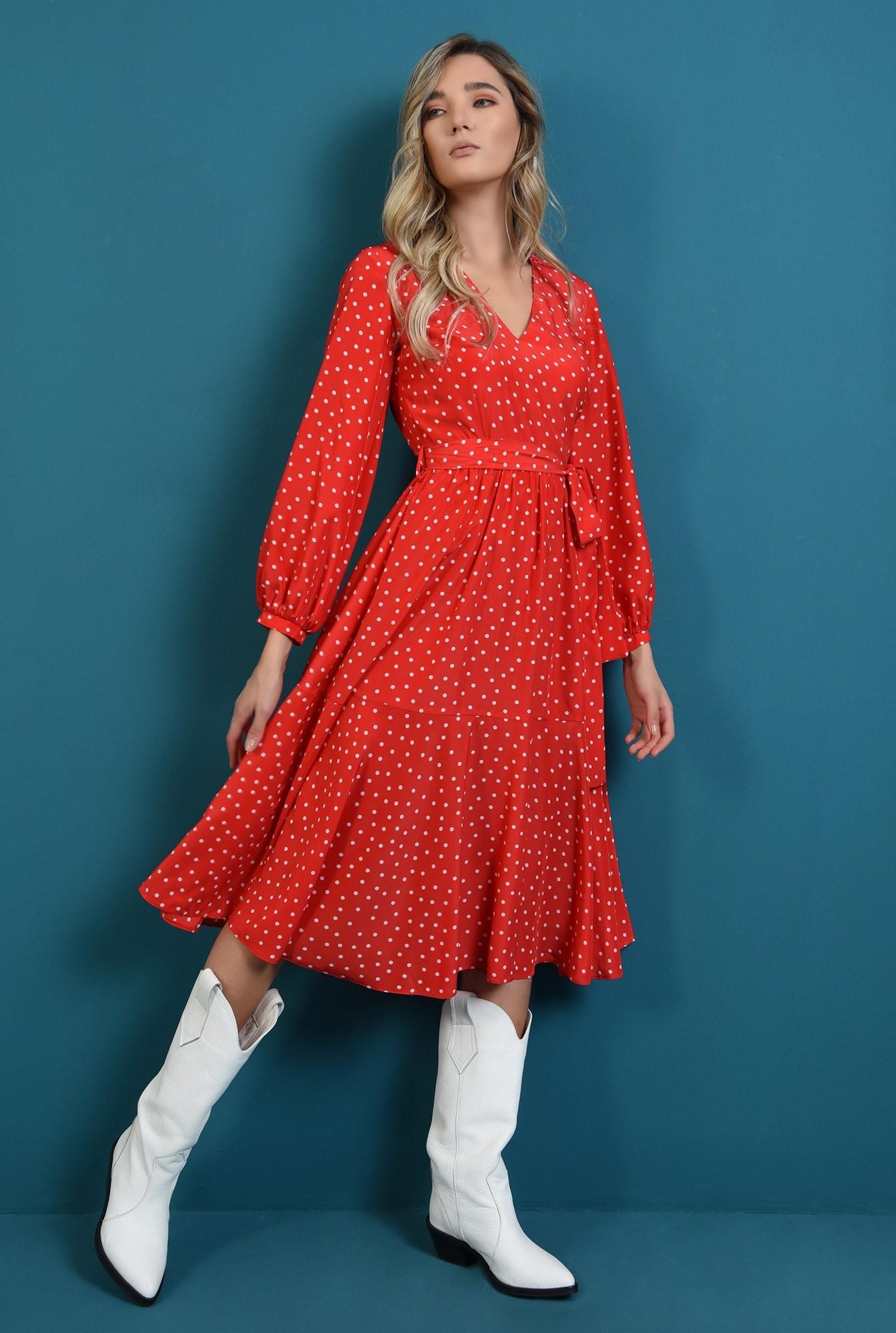 0 - rochie rosie, cu decolteu in V, cu maneca lunga