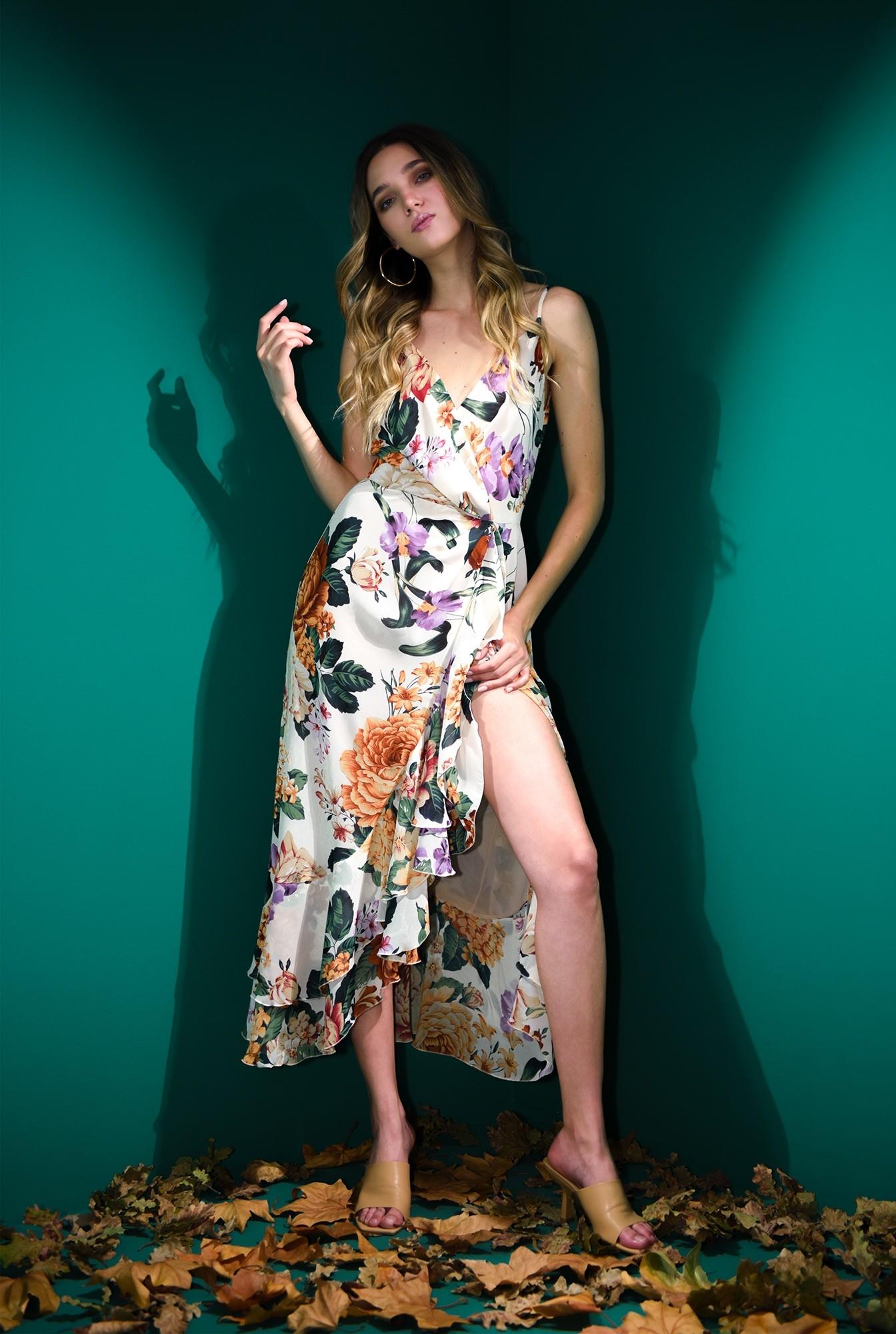 0 - rochie cu decolteu suprapus, cu flori