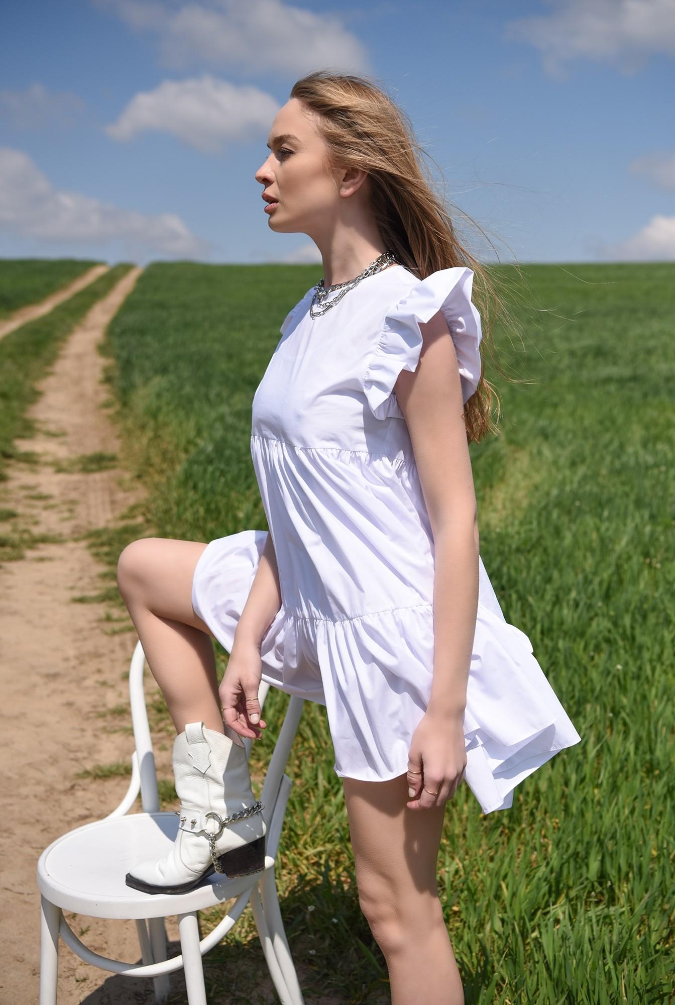0 - rochie scurta, alba, din bumbac