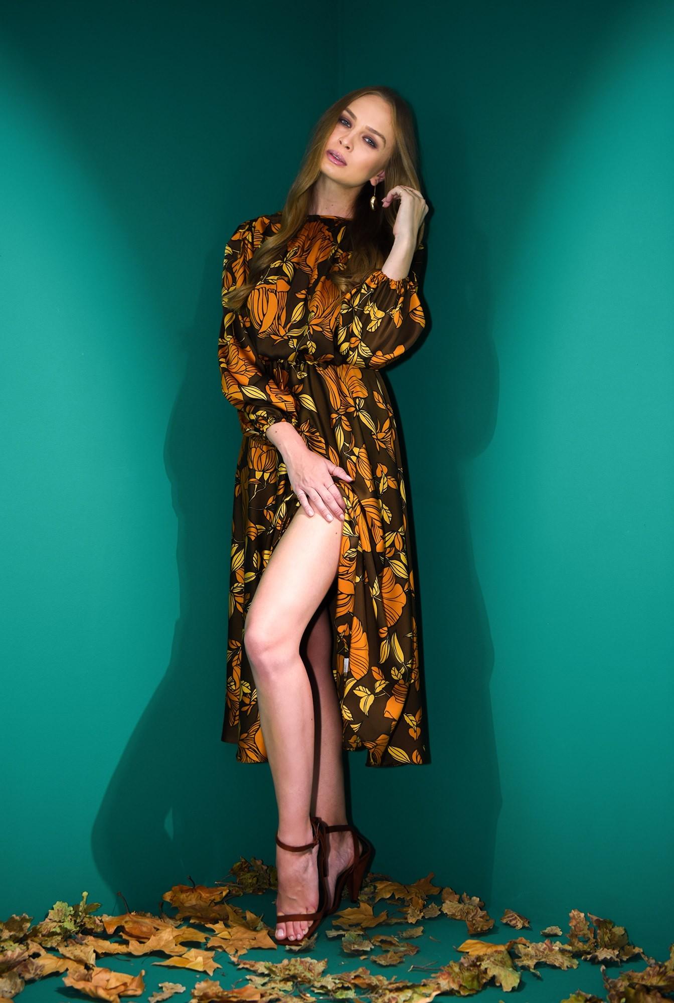 0 - rochie maro, cu motive florale