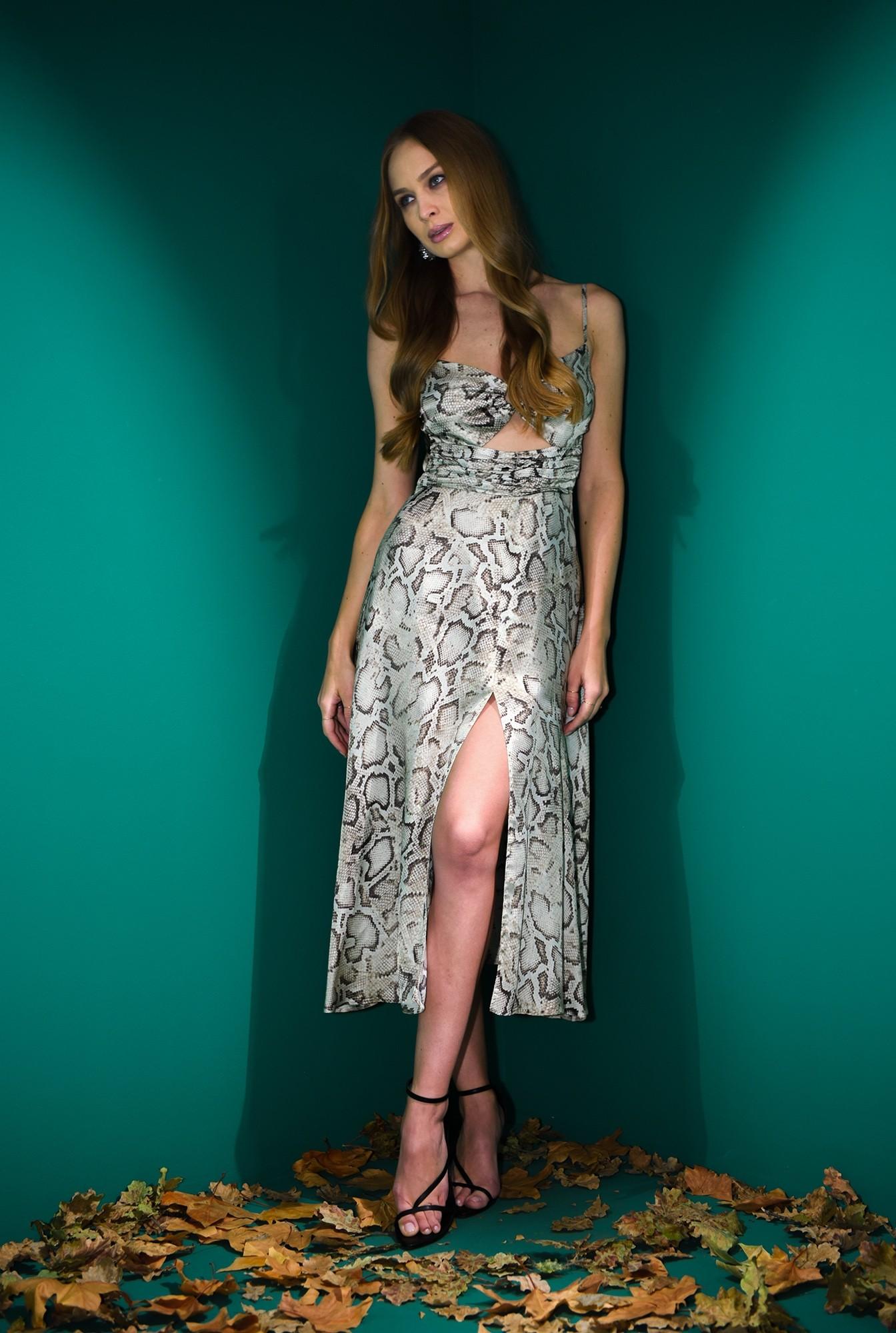 0 - rochie midi, eleganta, animal print, cu decupaj, fronsata pe accesoriu